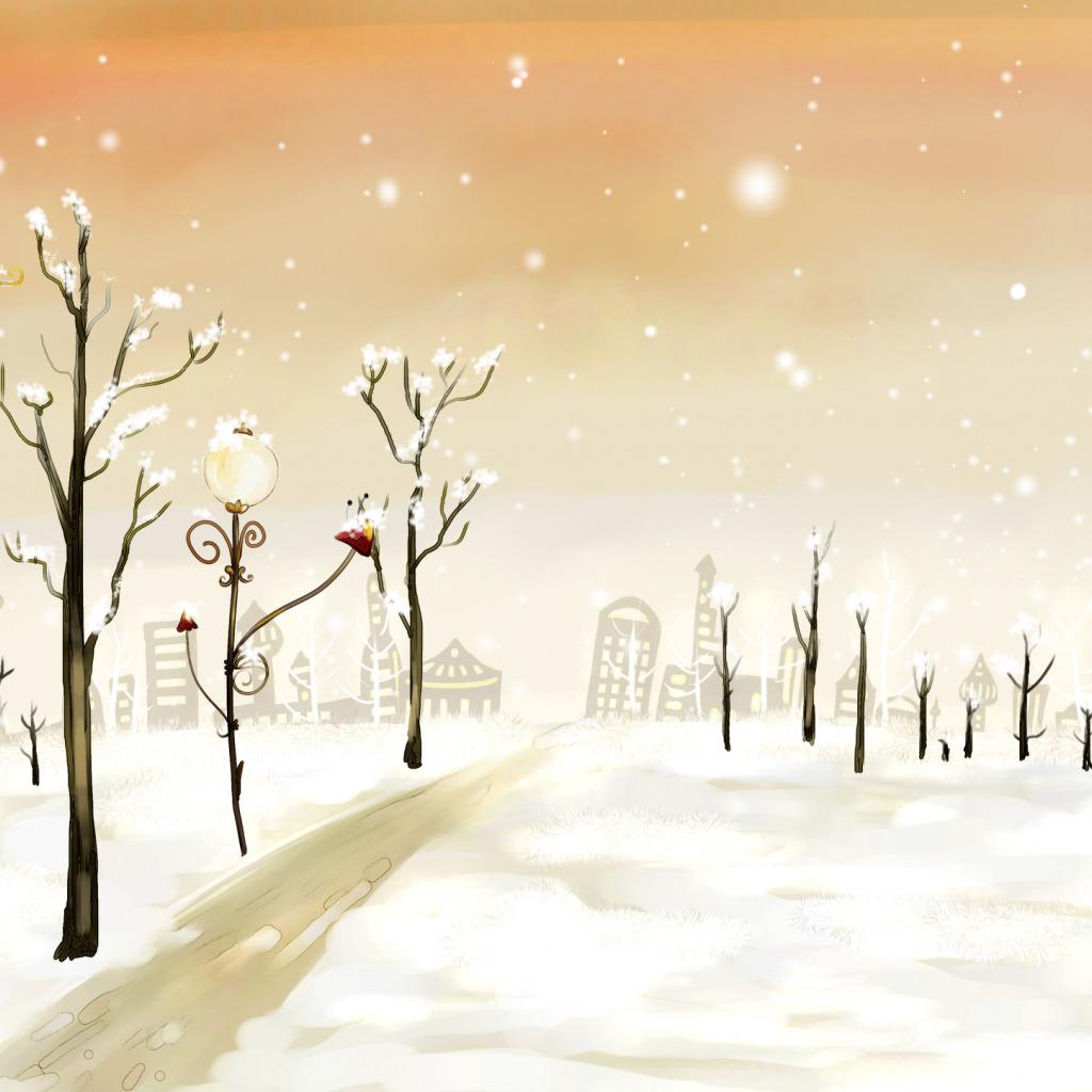 нарисованная зима обои на рабочий стол № 1239635 бесплатно