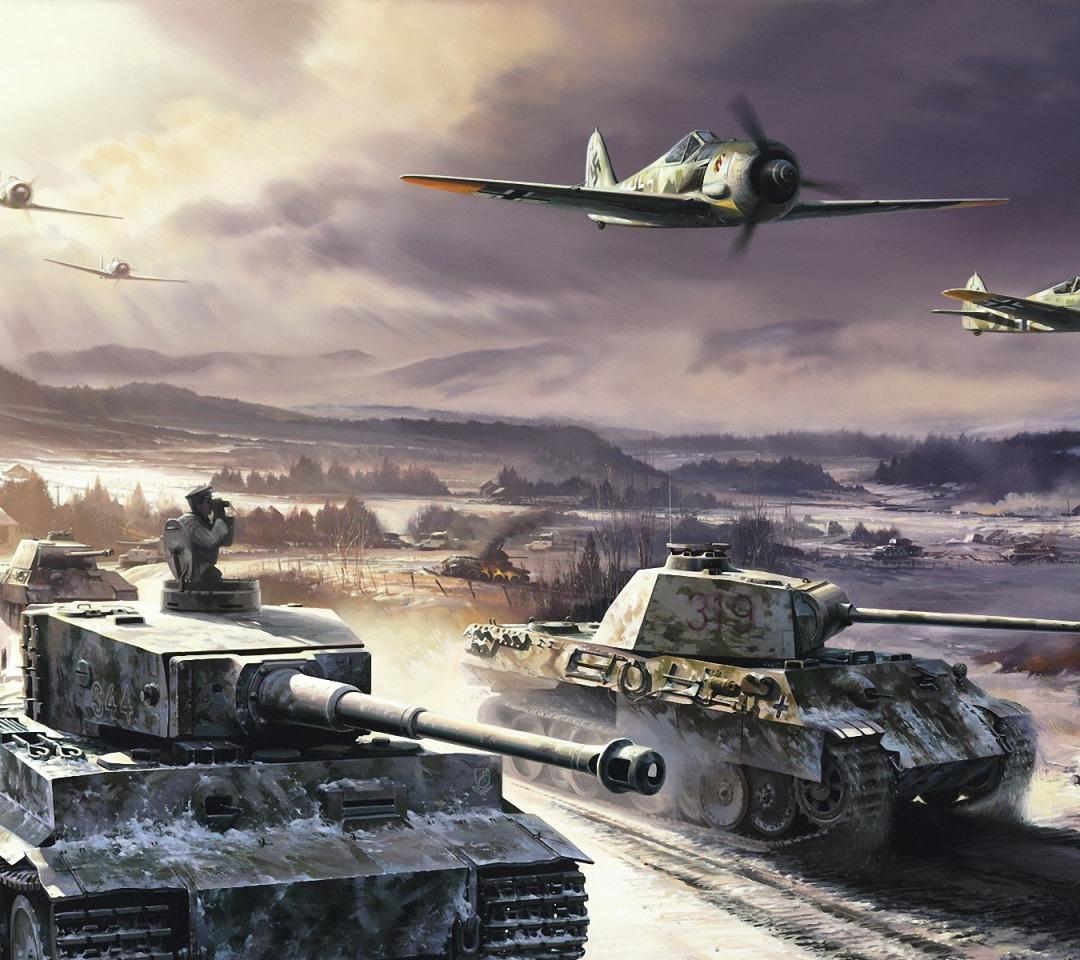 Новым годом, открытка с танками и самолетами