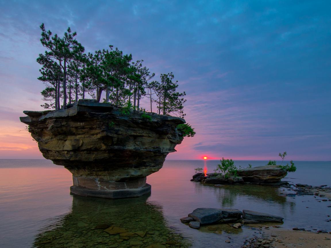 закат, скалы, озеро  № 661825  скачать