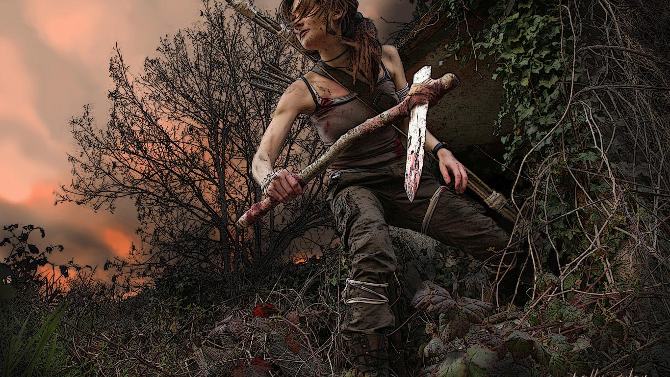 Lara croft hair pron tube