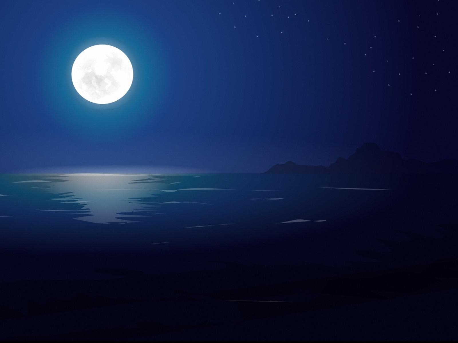 Открытка лунная ночь