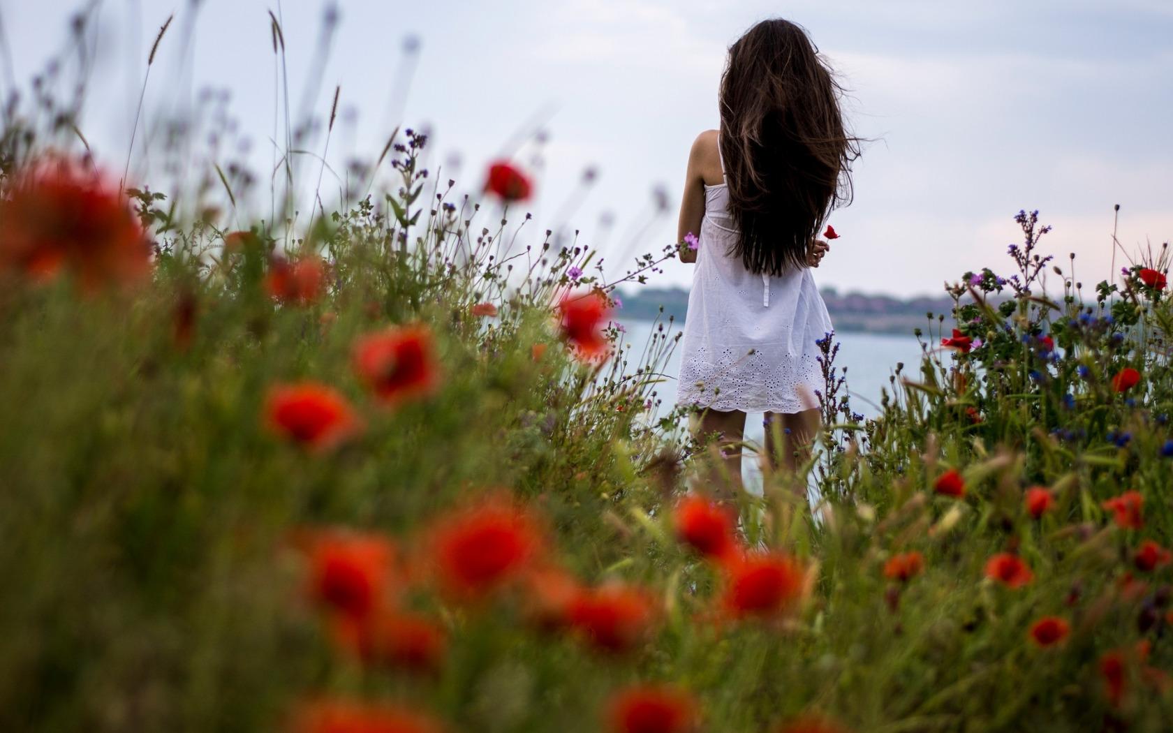 Фото красивых девушек сзади в цветах