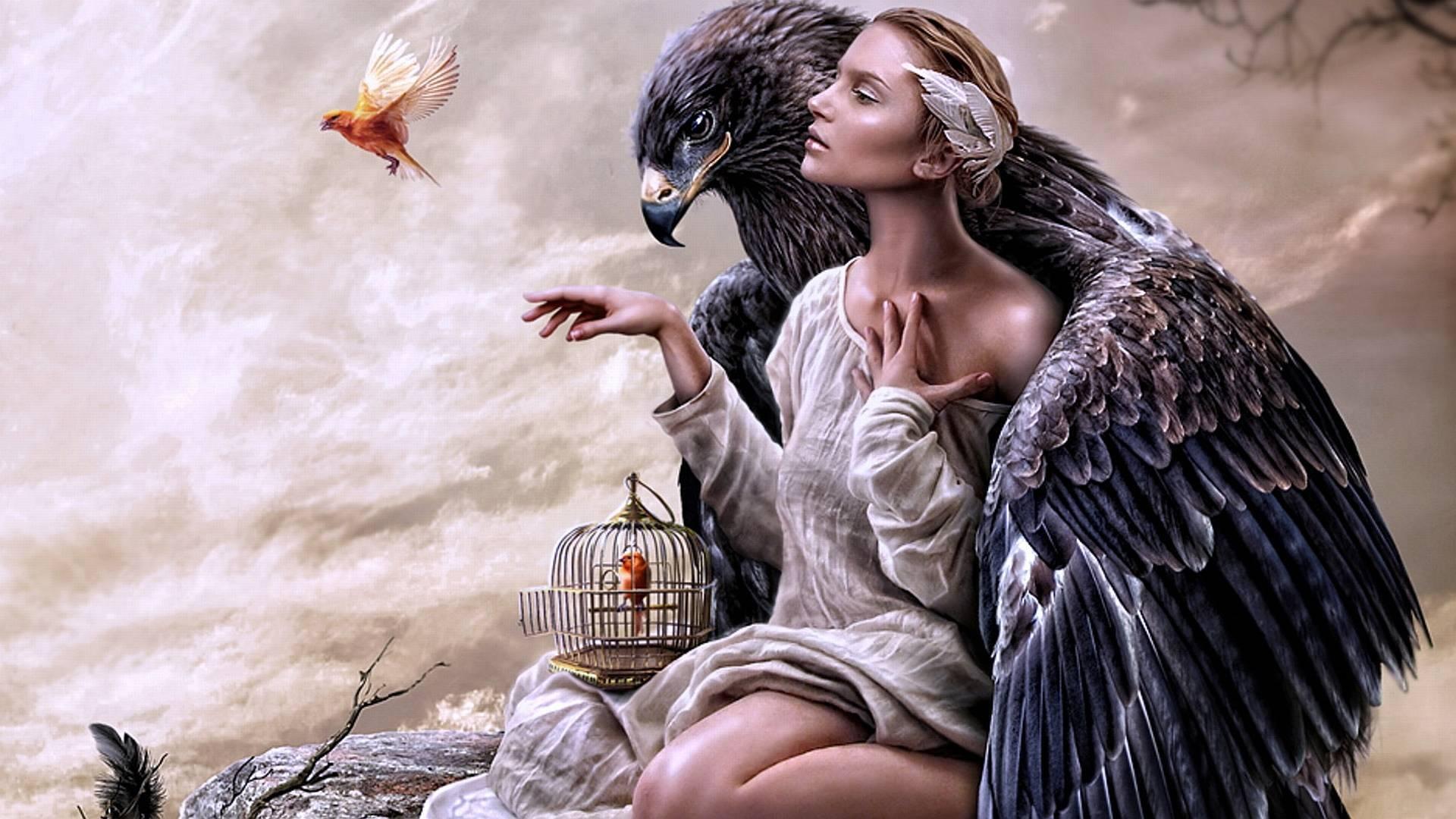 Картинки девушка с орлом
