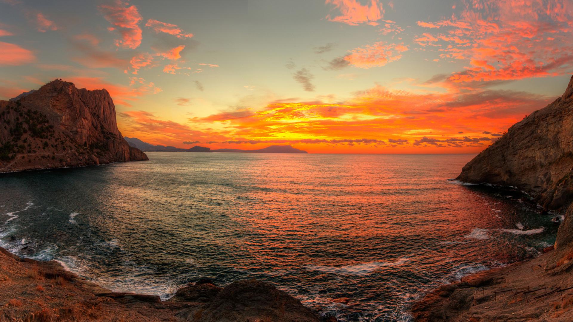 шокирова больше море горы рассвет фотообои в хорошем качестве натуральные виды тканей