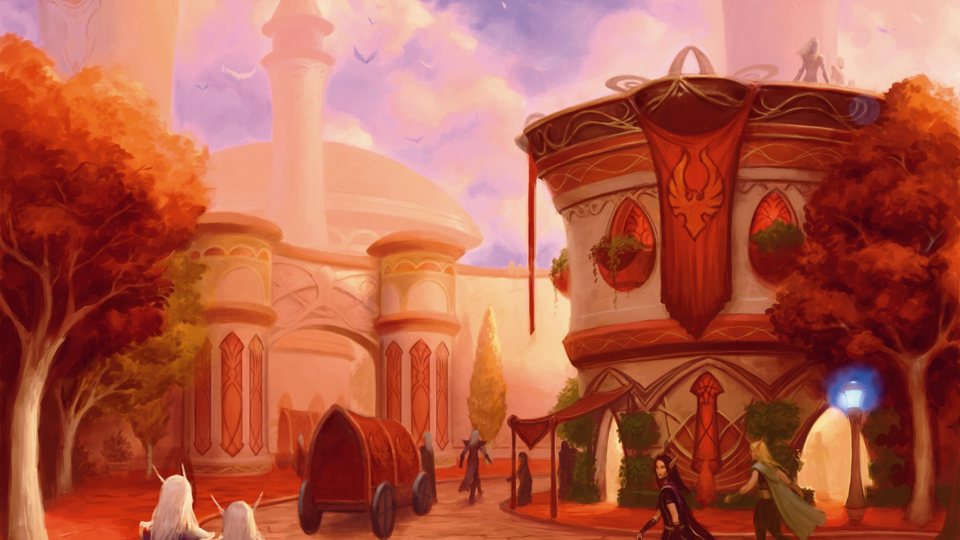 Food in the blood elf city anime scene