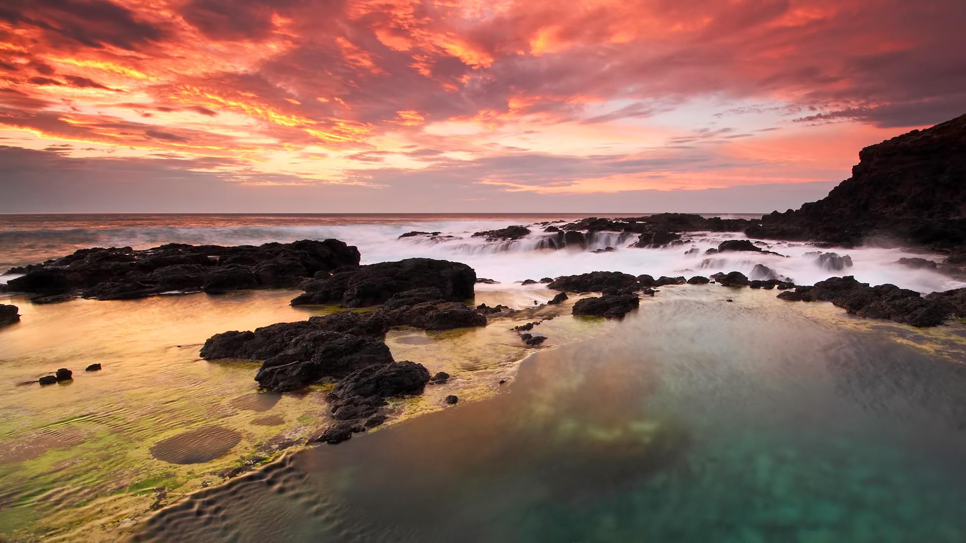 море океан камни скалы закат sea the ocean stones rock sunset  № 2530558 без смс