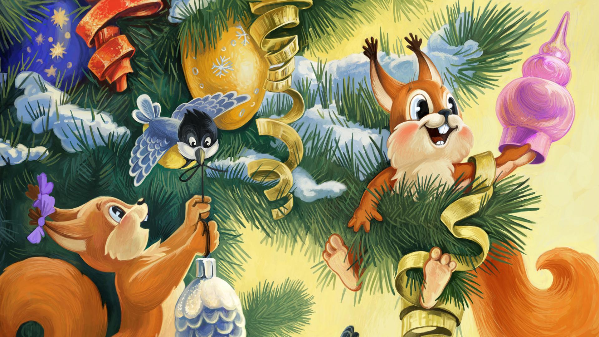 Новогодние открытки из советских мультфильмов