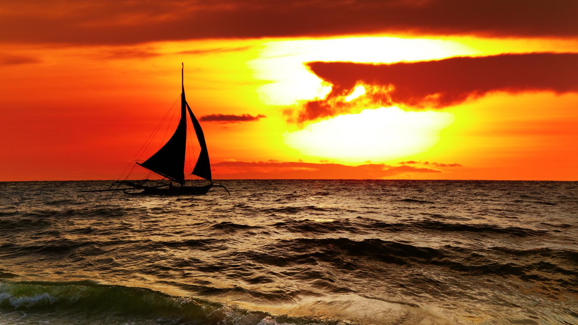 фотообои для рабочего стола море солнце закат