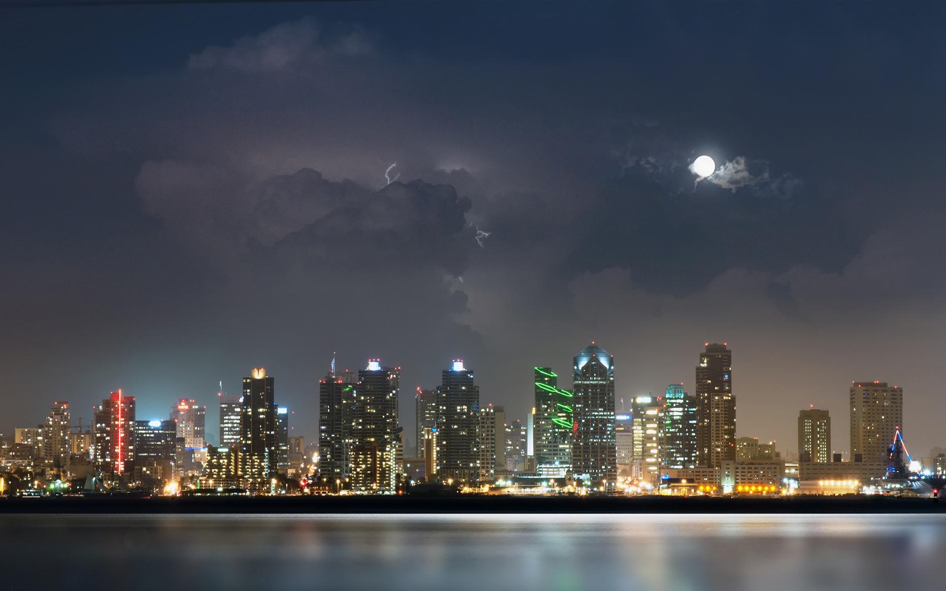 небоскребы город вода огни ночь  № 3981341  скачать