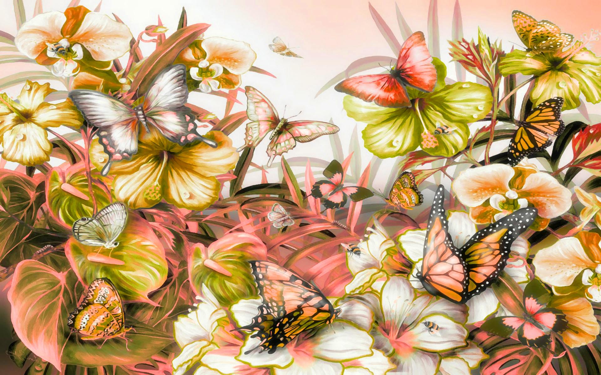 Мая, цветы и бабочки картинки
