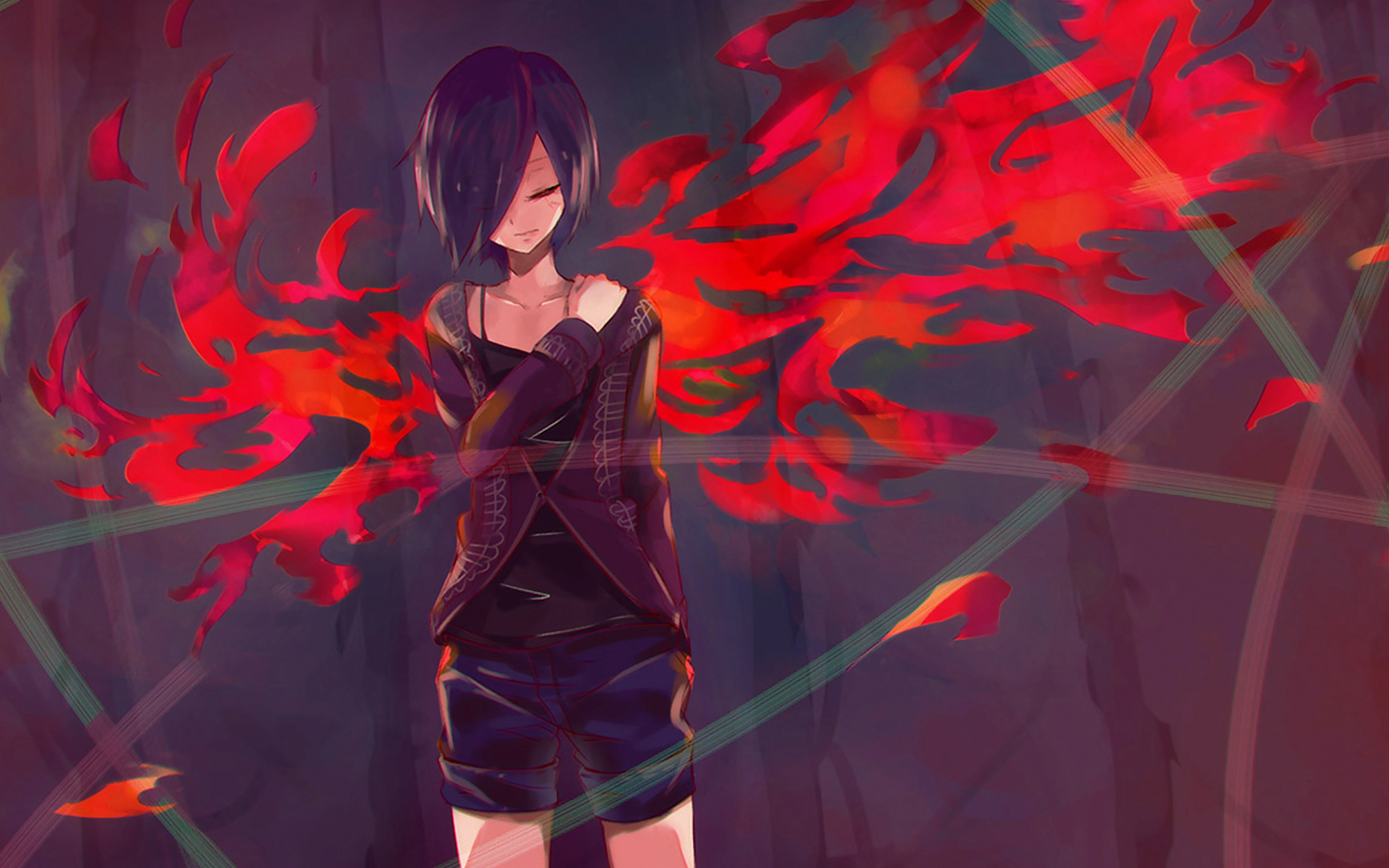 Anime, art, tokyo ghoul, токийский гуль, kirishima touka ...: goodfon.ru/wallpaper/anime-art-tokyo-ghoul-867.html