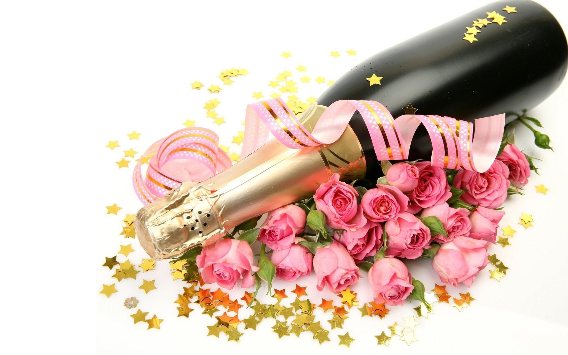 lovely babes are getting covered with roses and champagne  205250