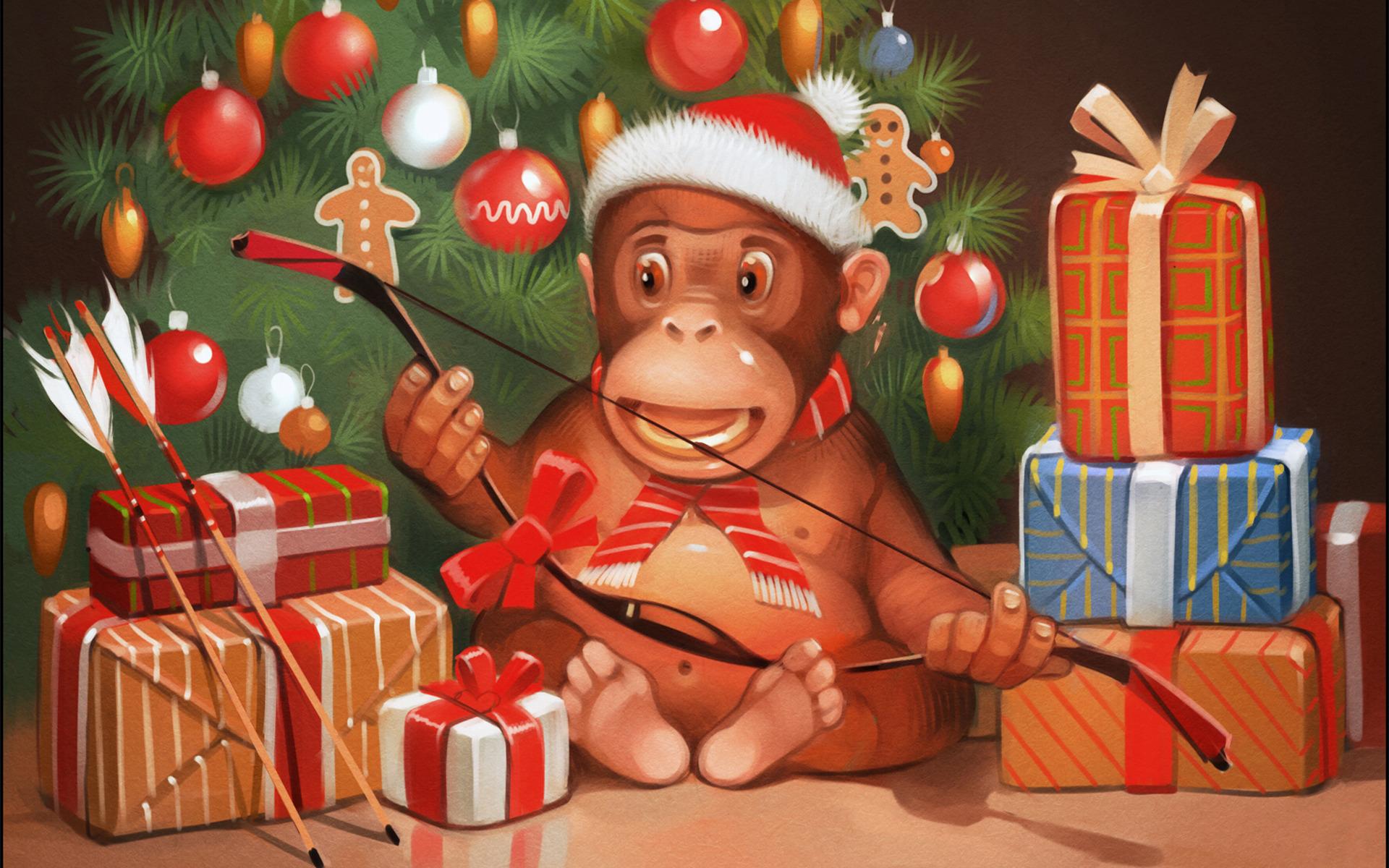 Открытки с новым годом на 2016 год обезьяны