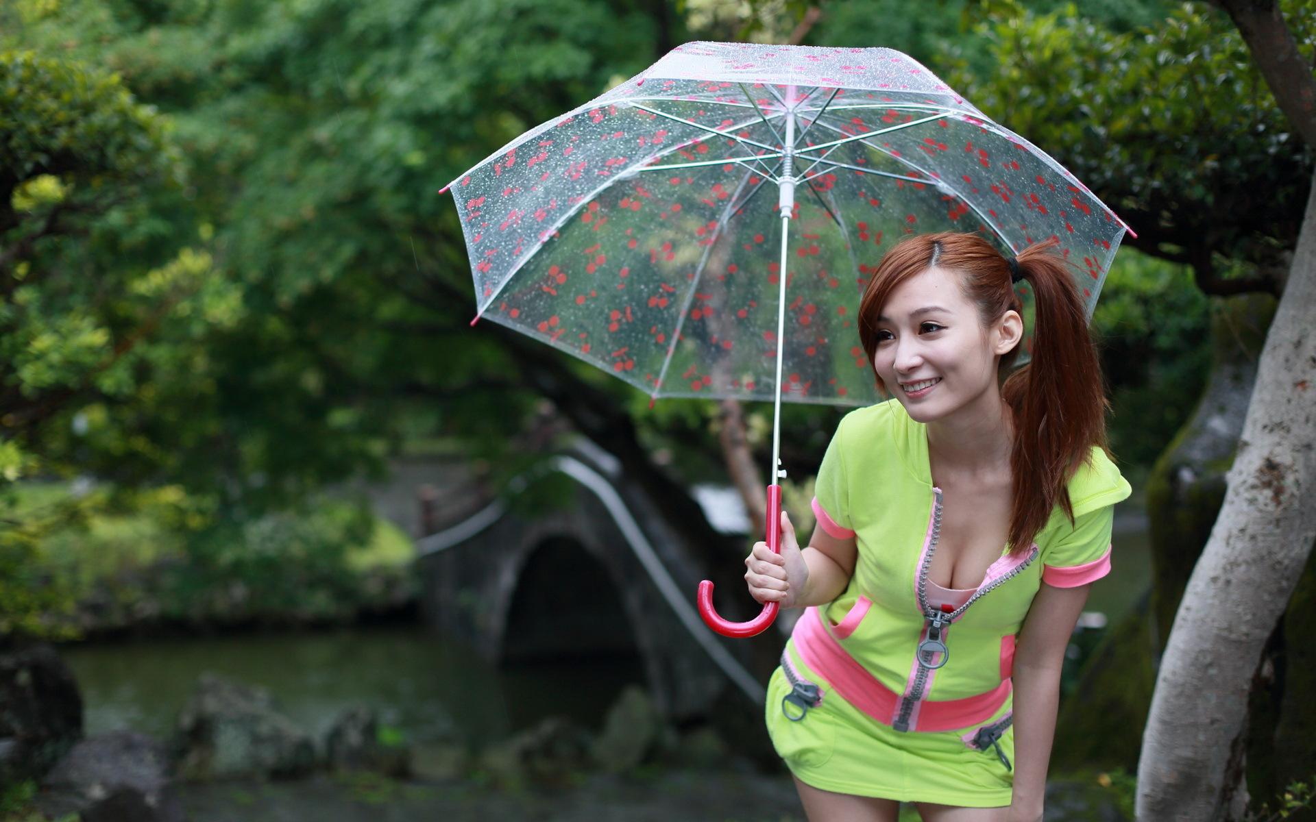 девушка зонт дождь природа  № 3582435 без смс