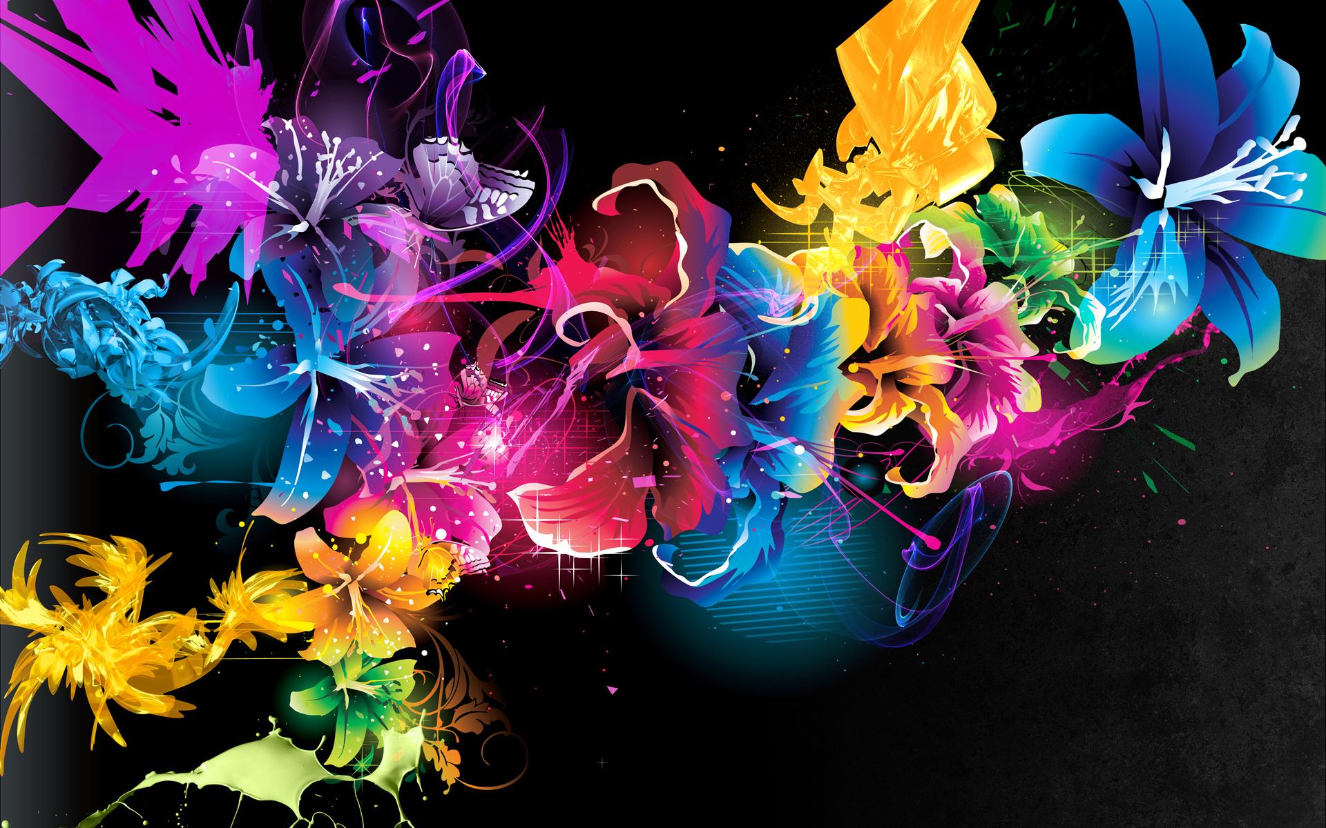 Картинки яркие краски света на темном экране