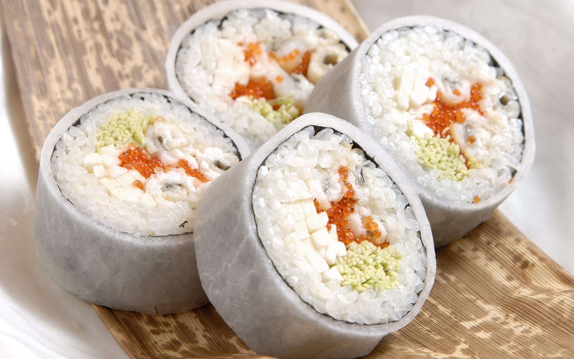 Скачать обои макро, еда, рыба, рис, икра, food, 1920x1200, macro, sushi,  суши, fish, fish eggs, роллы, rice, раздел еда в разрешении 1920x1200