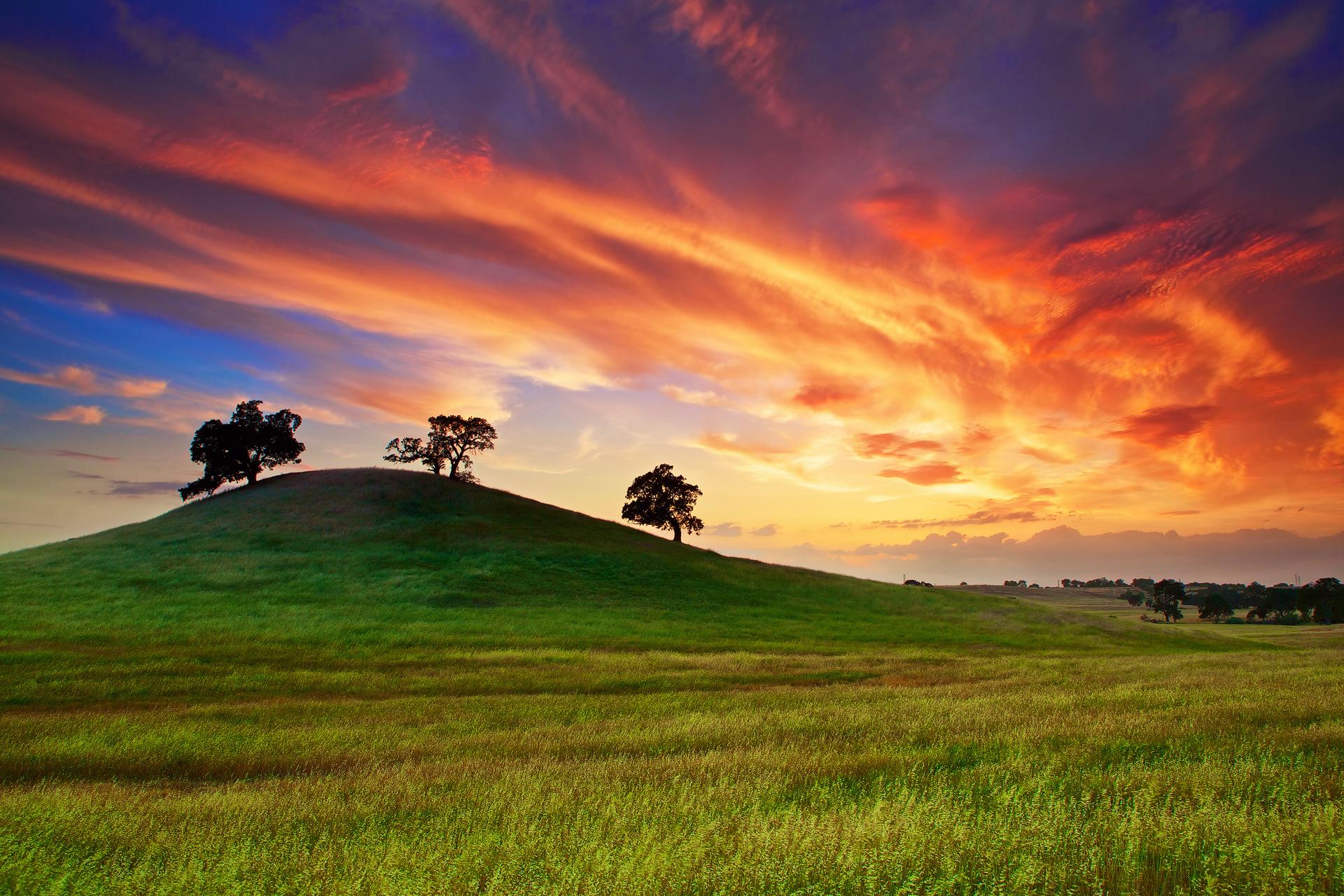 холмы озеро небо закат пейзаж  № 2743227  скачать