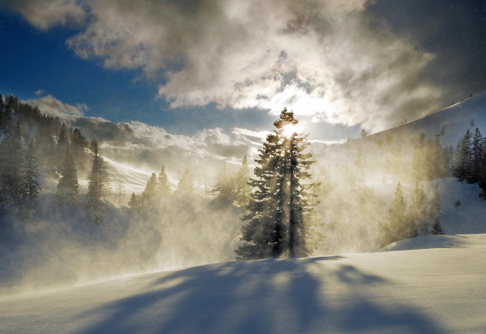 снег горы туман snow mountains fog  № 1146679 загрузить