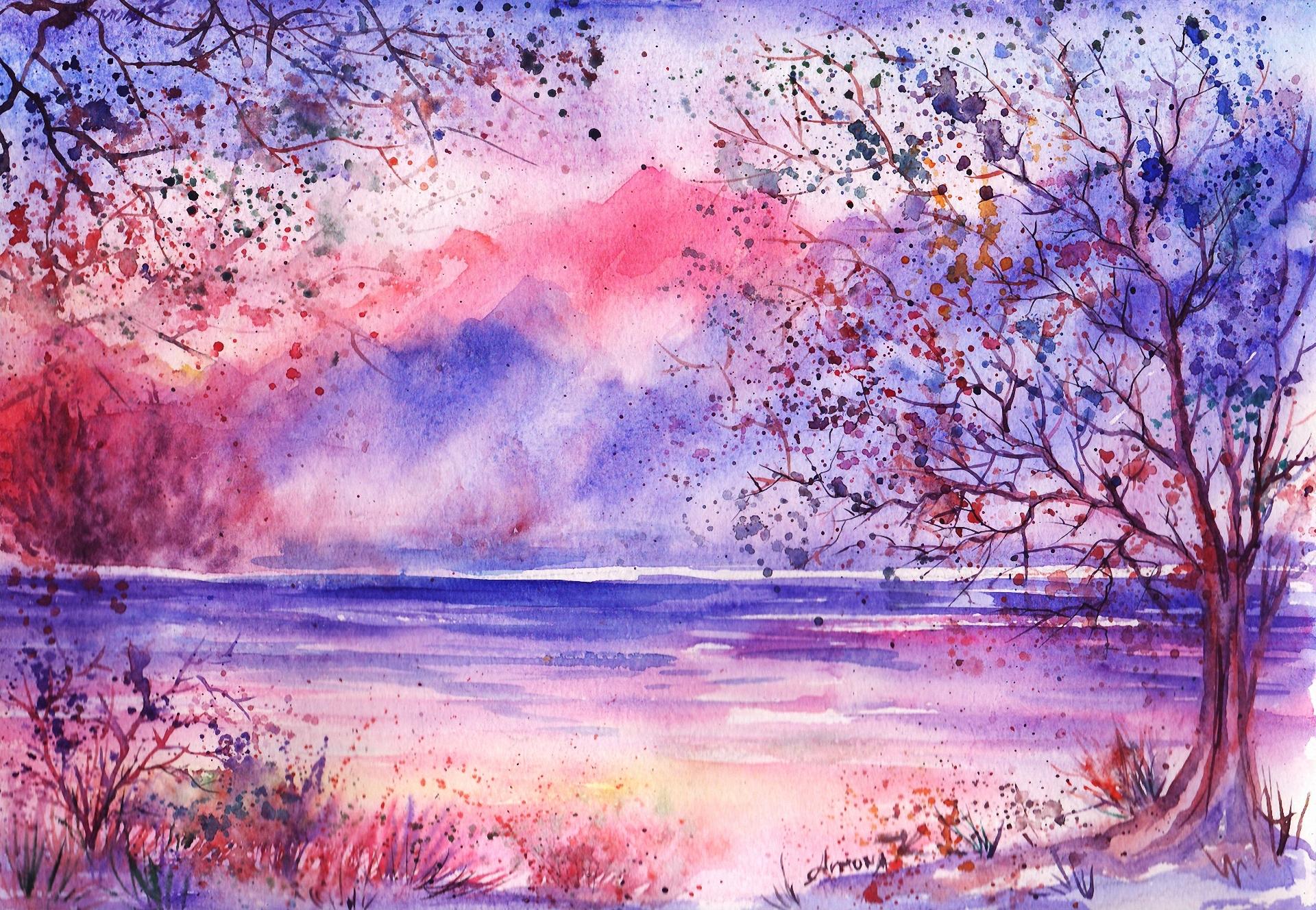 Красивые рисунки гуашью природа для начинающих поэтапно, картинка что скучно