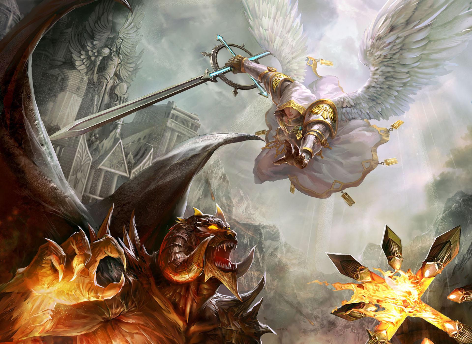 Битва ангела и демона в картинках