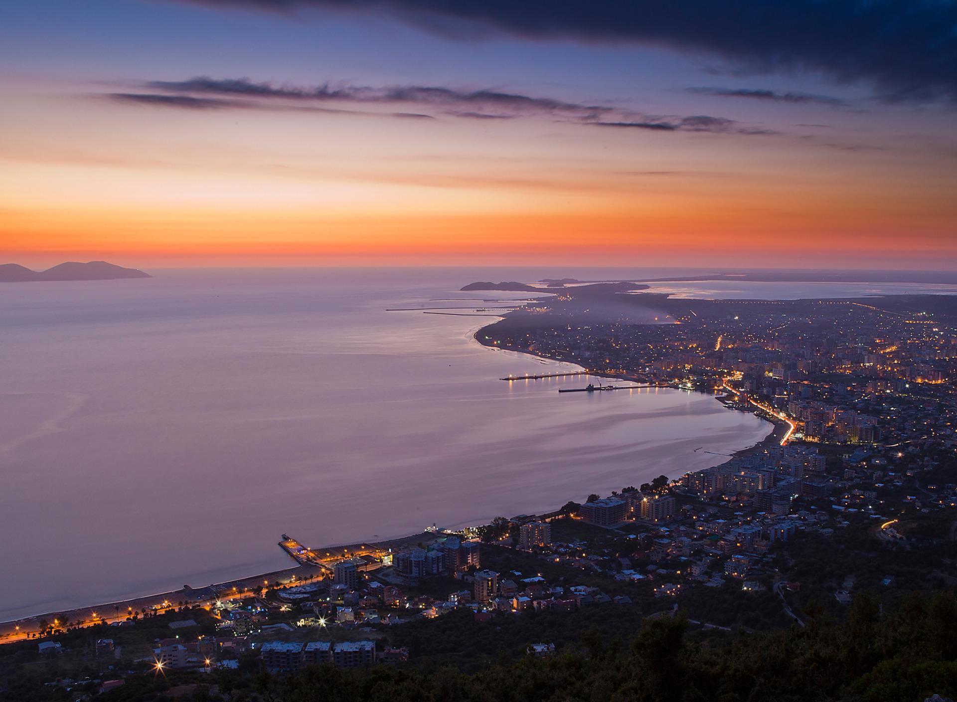 огни город море сумерки lights the city sea twilight  № 2659490 бесплатно