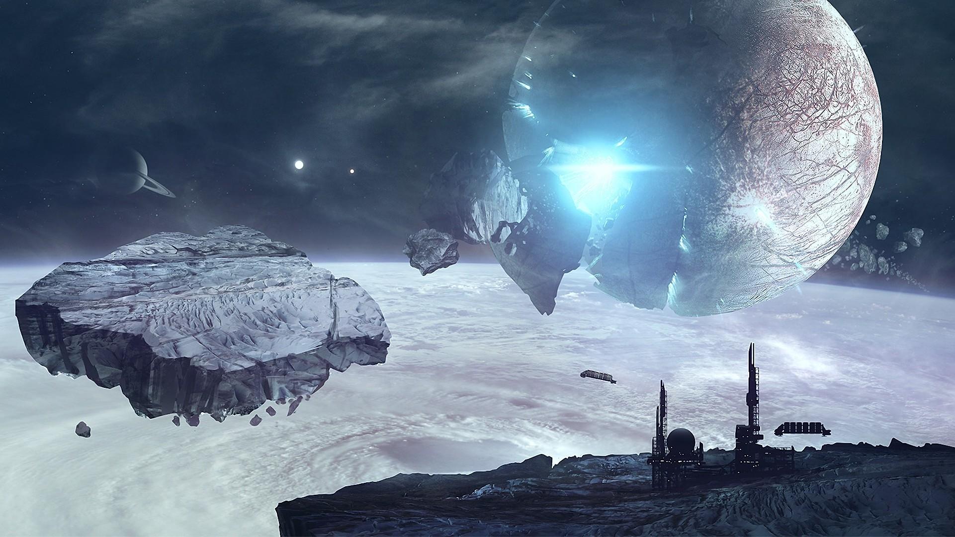 Обои Разрушенная планета, корабль картинки на рабочий стол на тему Космос - скачать  № 3552352  скачать
