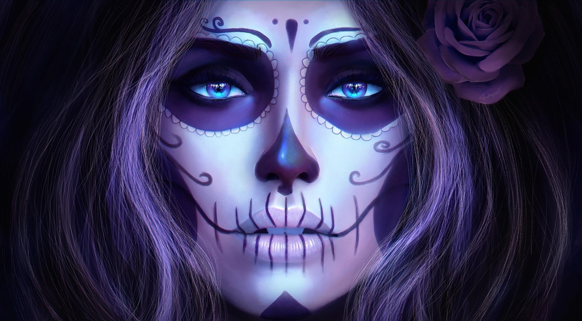 Фото девушки с черепом на аву