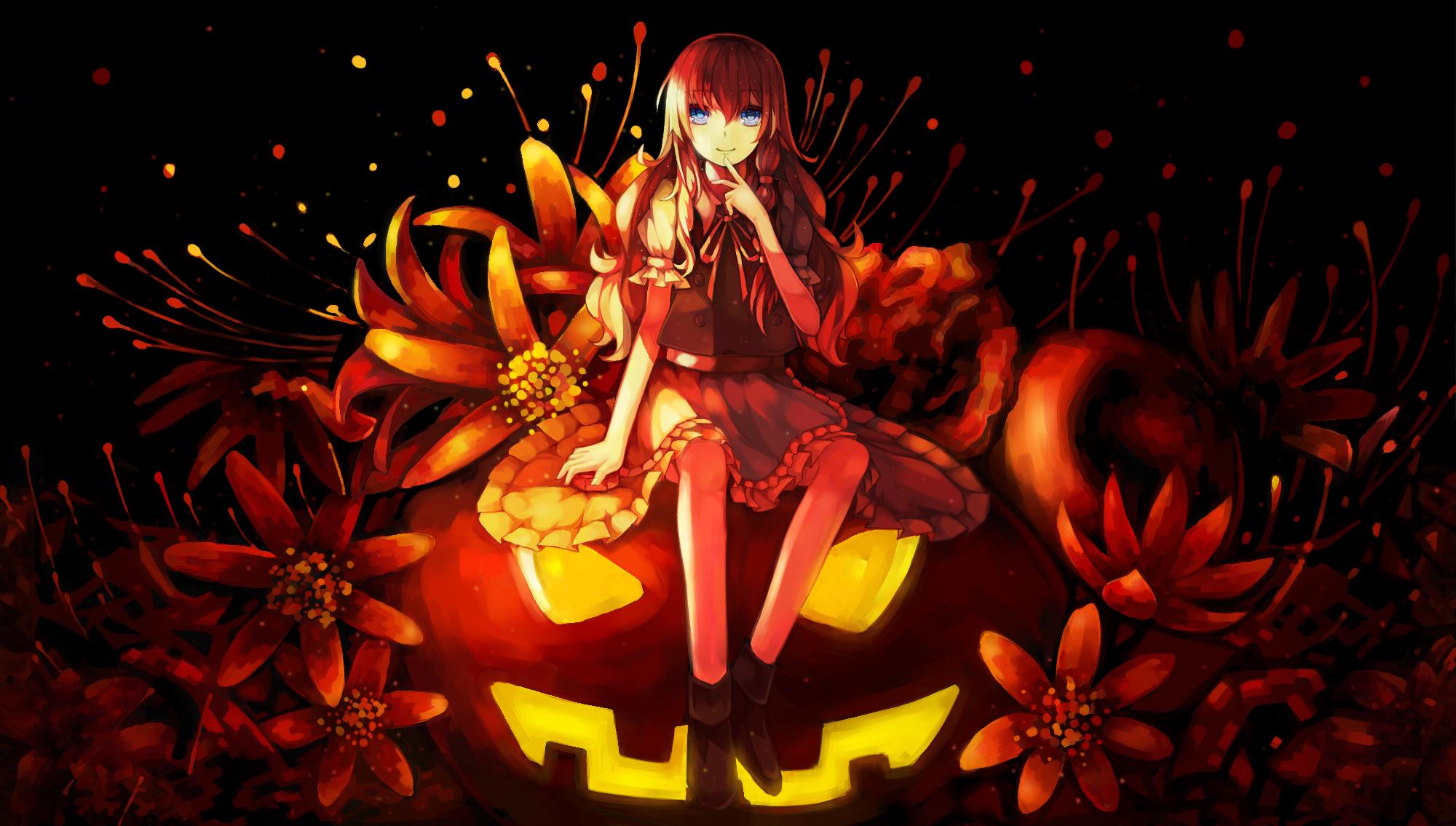 Оранжевые картинки аниме хэллоуин