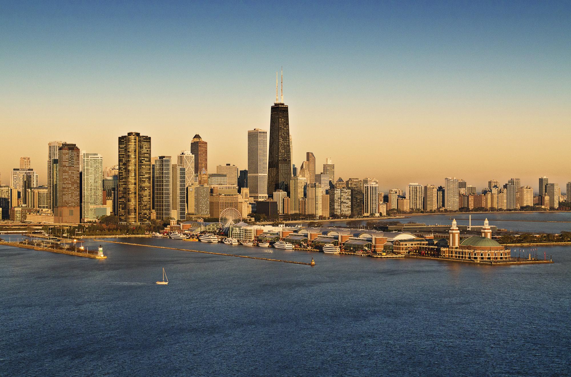 Ночной порт в Чикаго  № 3504522 загрузить