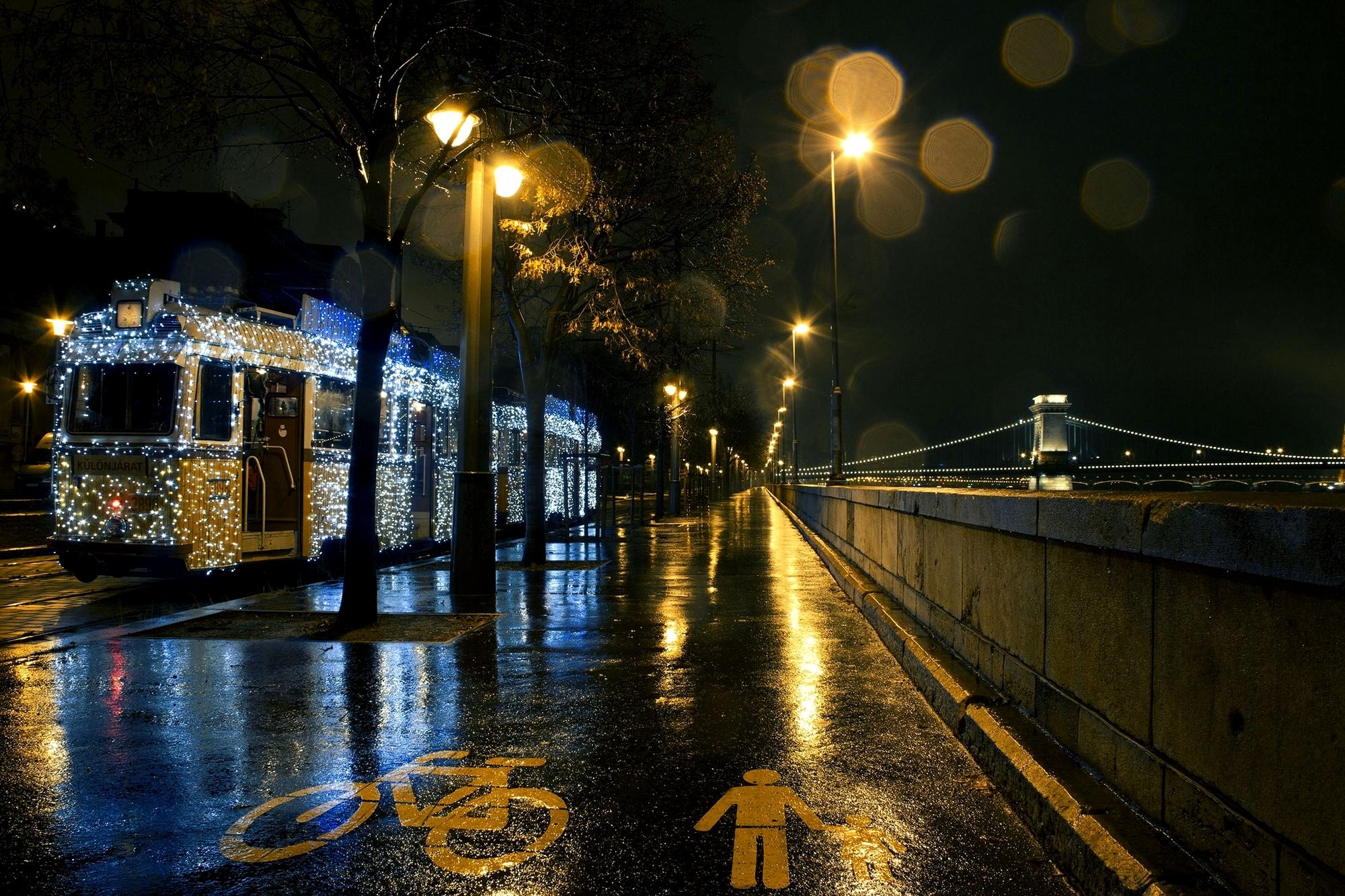 Франция дороги ночь фонари  № 2229293  скачать