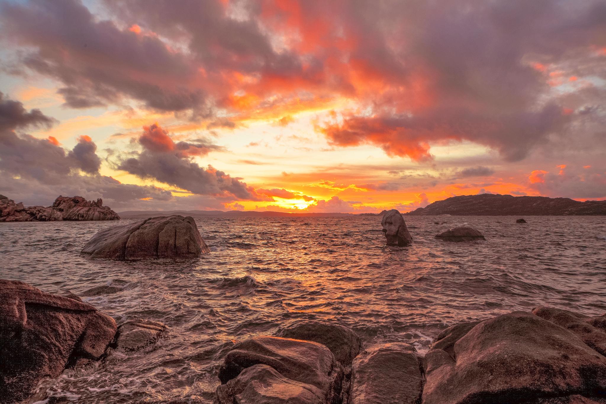 море океан камни скалы закат sea the ocean stones rock sunset  № 2530646  скачать