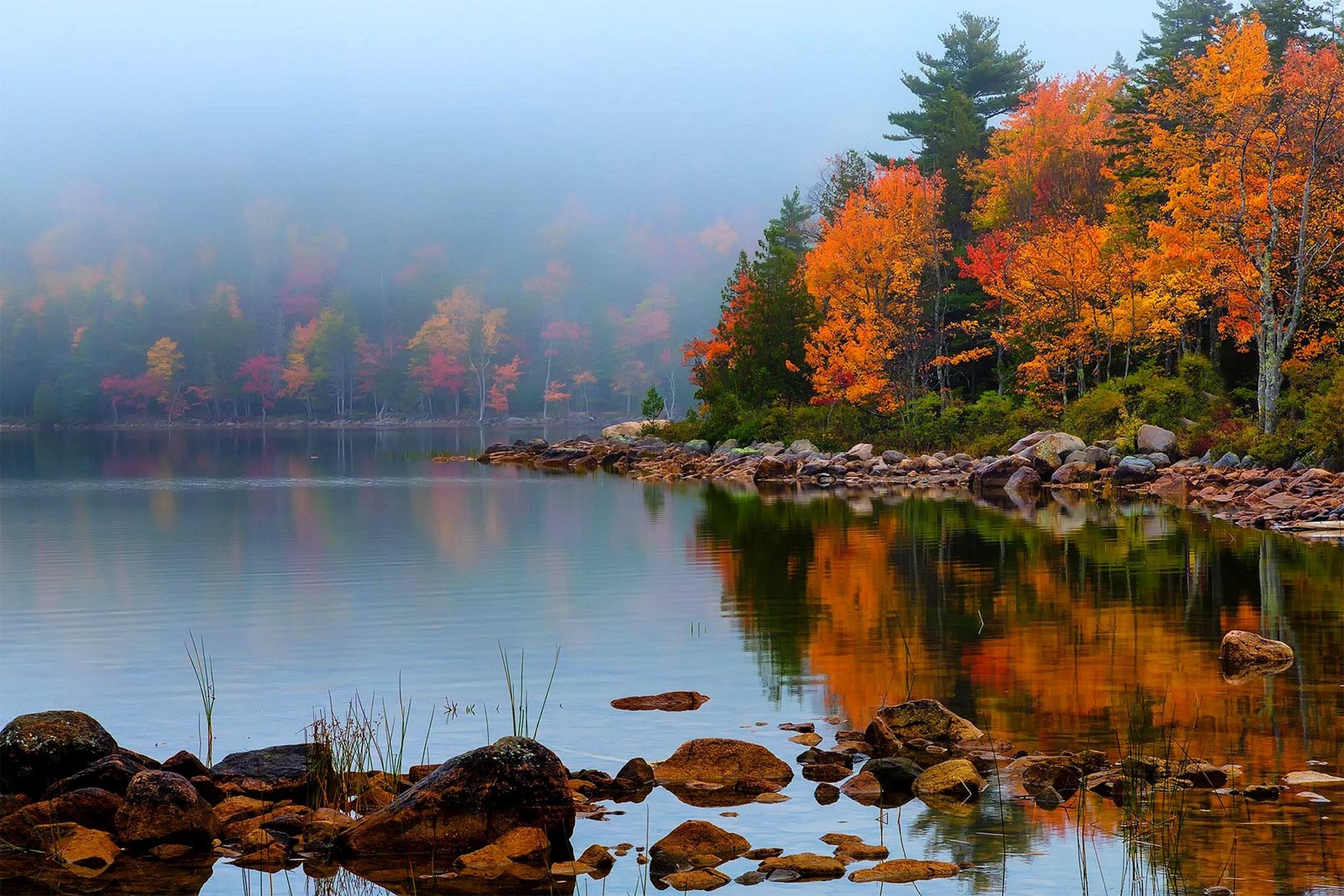 вода озеро осень water the lake autumn  № 1155964 бесплатно