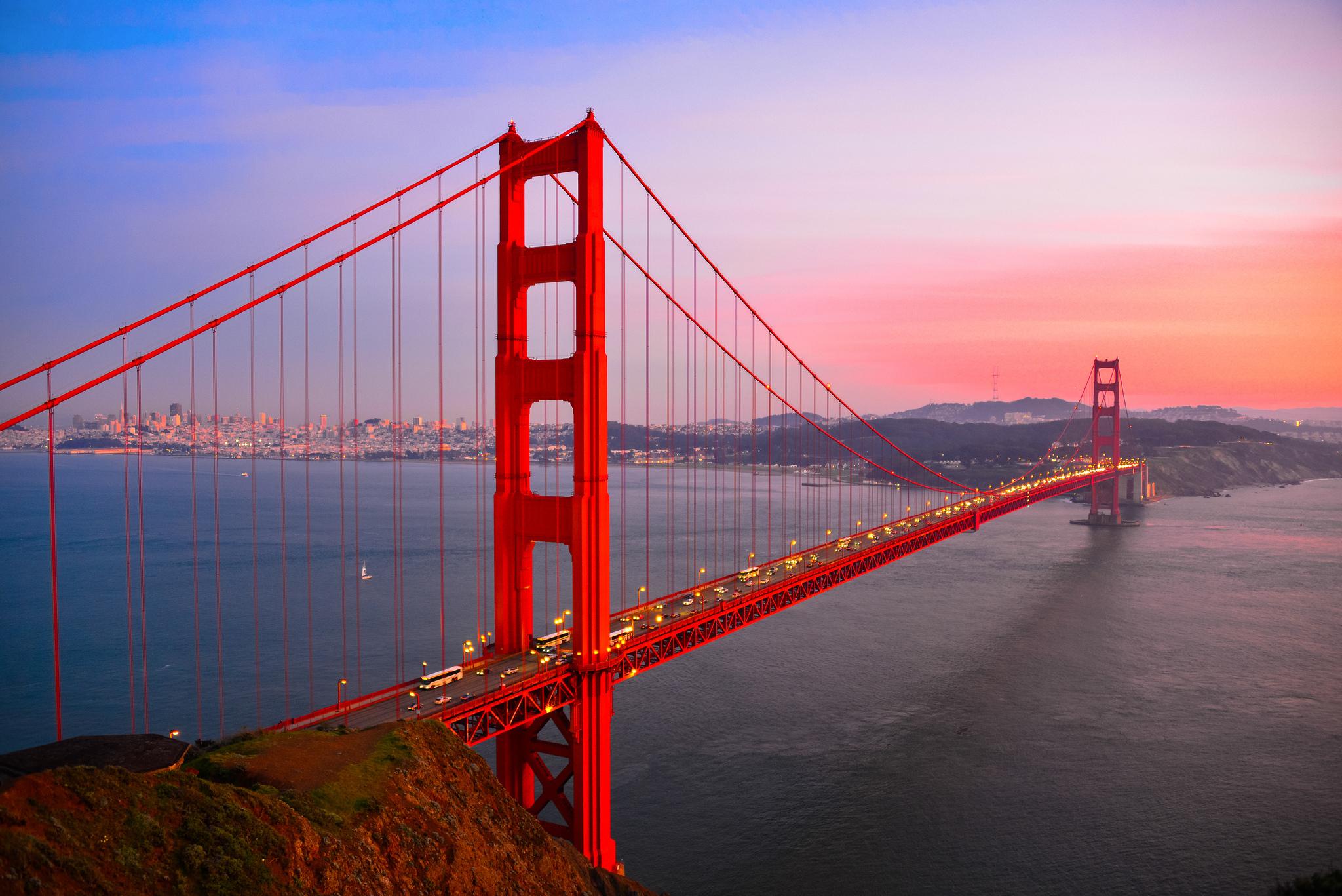 Evening Crossing, Bay Bridge, San Francisco, California  № 3721021  скачать