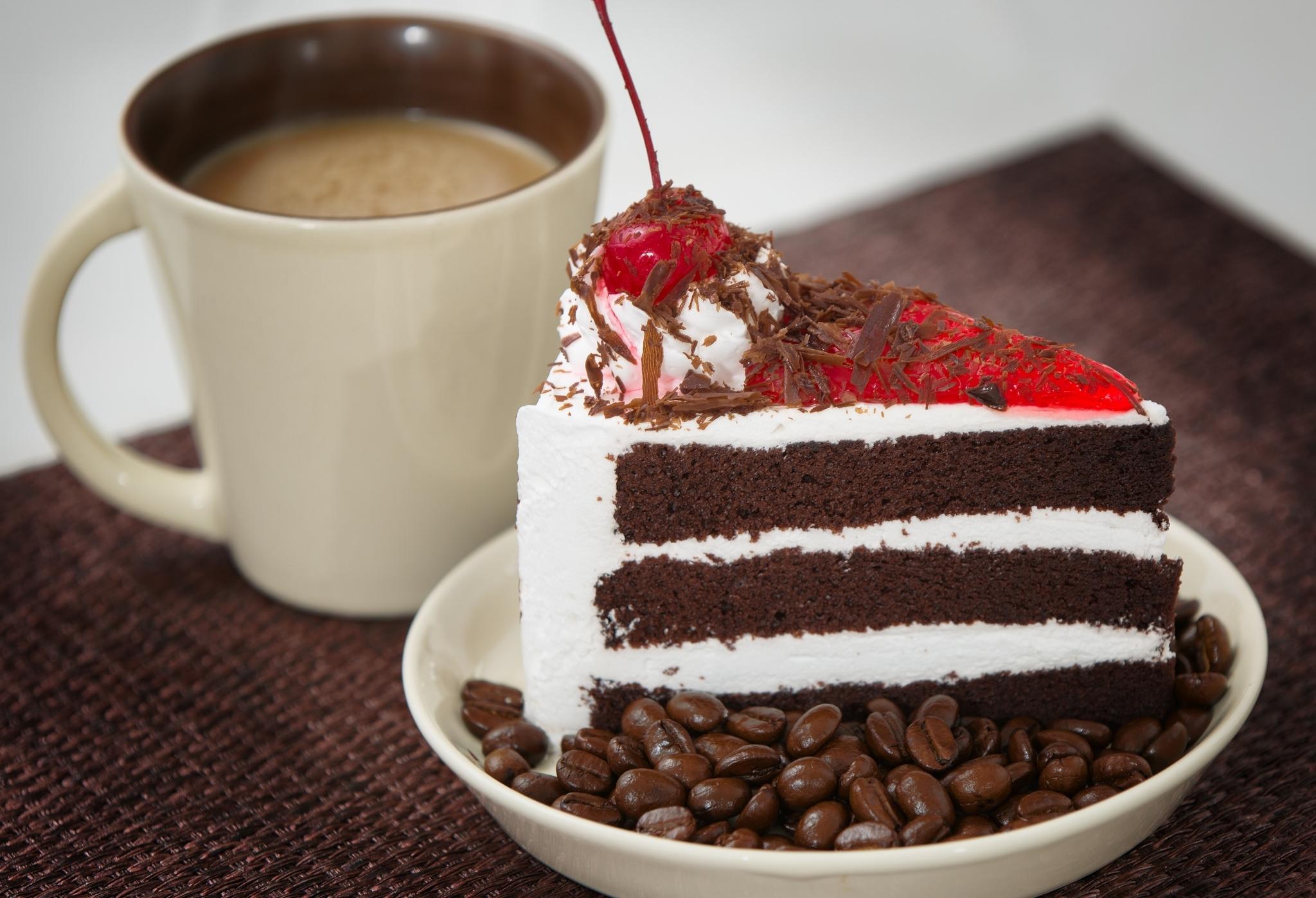 Открытки две чашки кофе и тортики, открытки днем