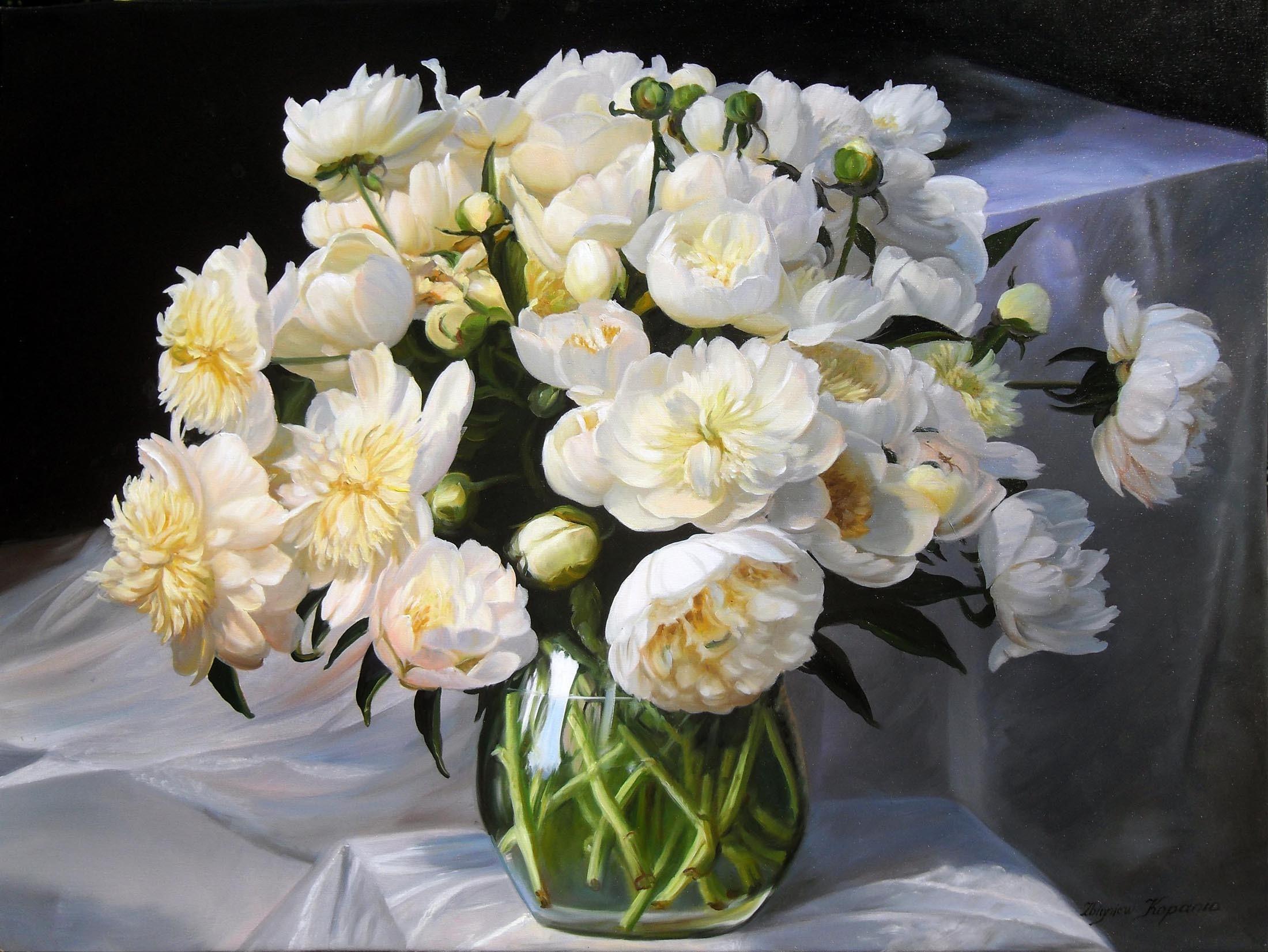 Открытки с букетами цветов в вазе