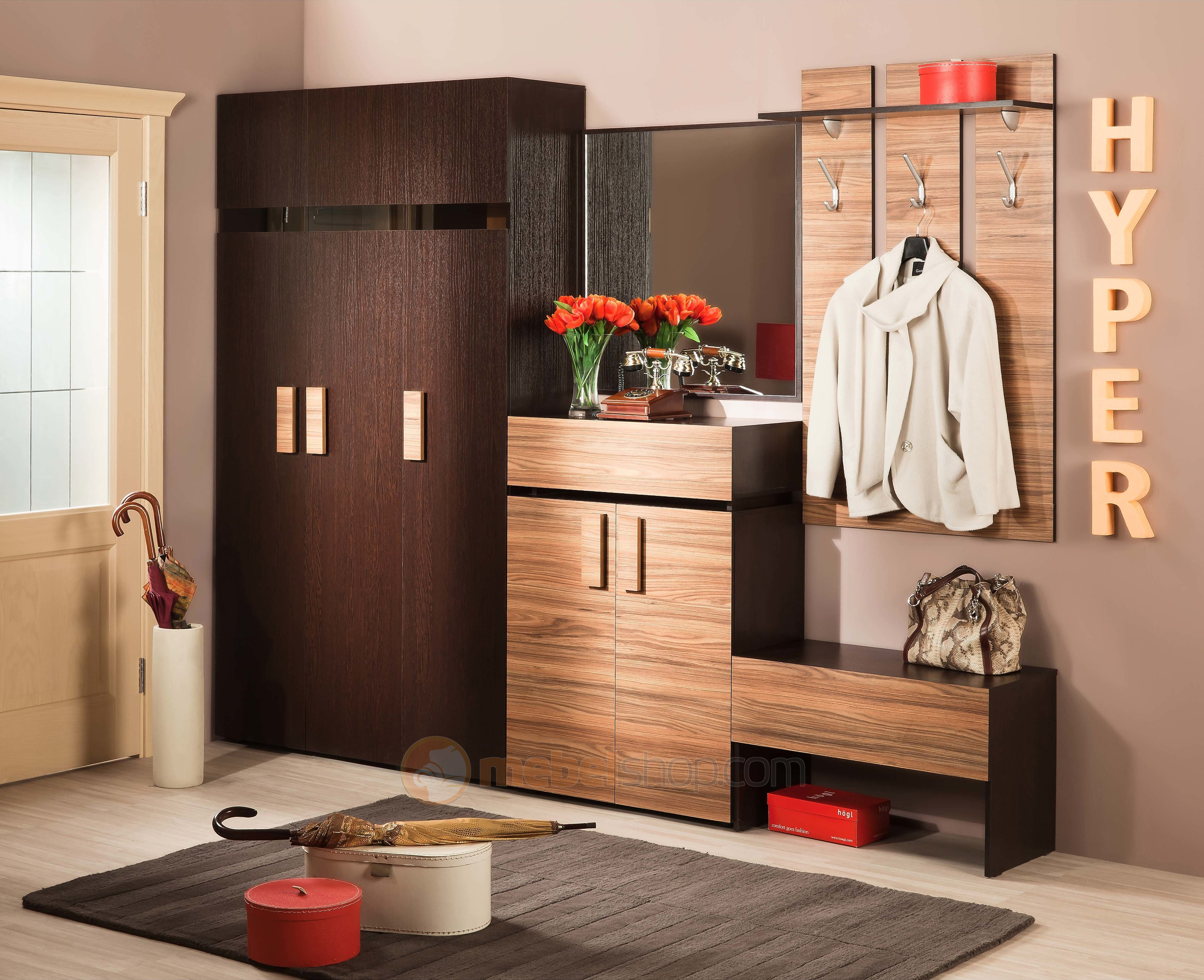 Hall storage furniture.