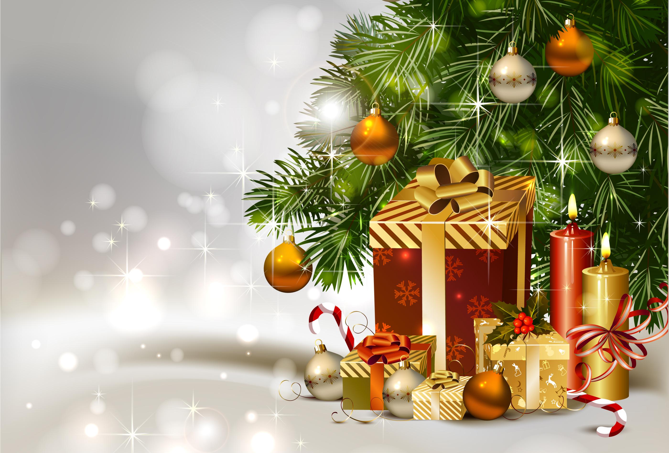 Открытка елка с подарками, картинки