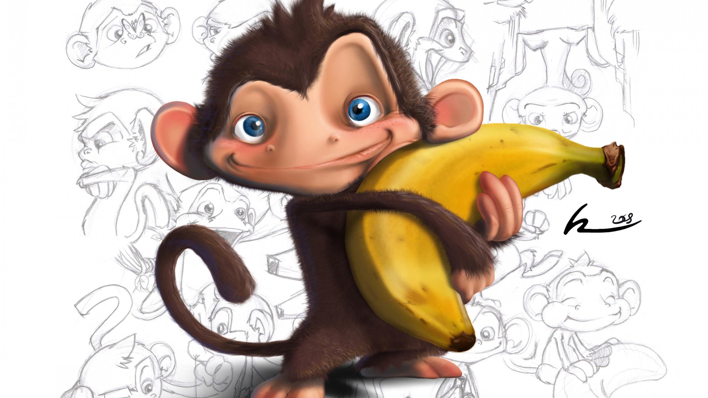 Поздравлением, рисунки обезьян прикольные
