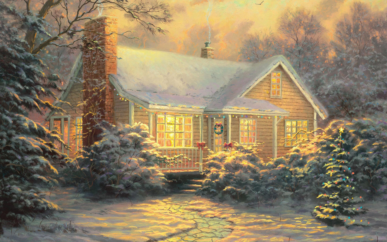 Открытки с домиком на новый год