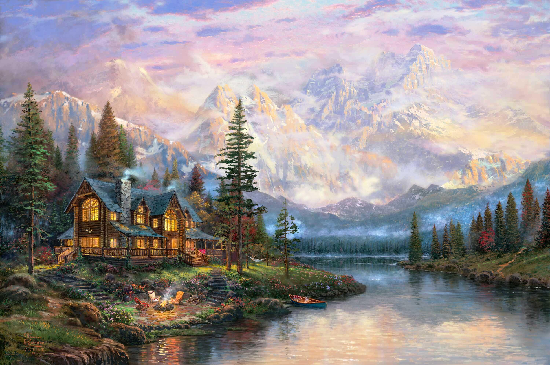 графика природа деревья горы дом  № 3243596 бесплатно