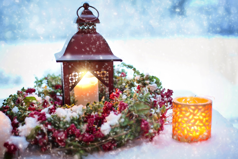 Новогодняя открытка фонарик