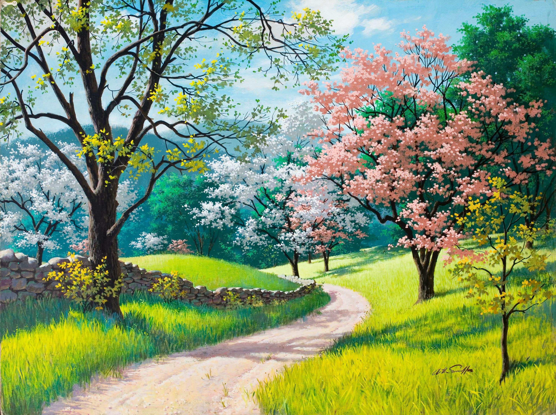 Красивое дерево в цветах