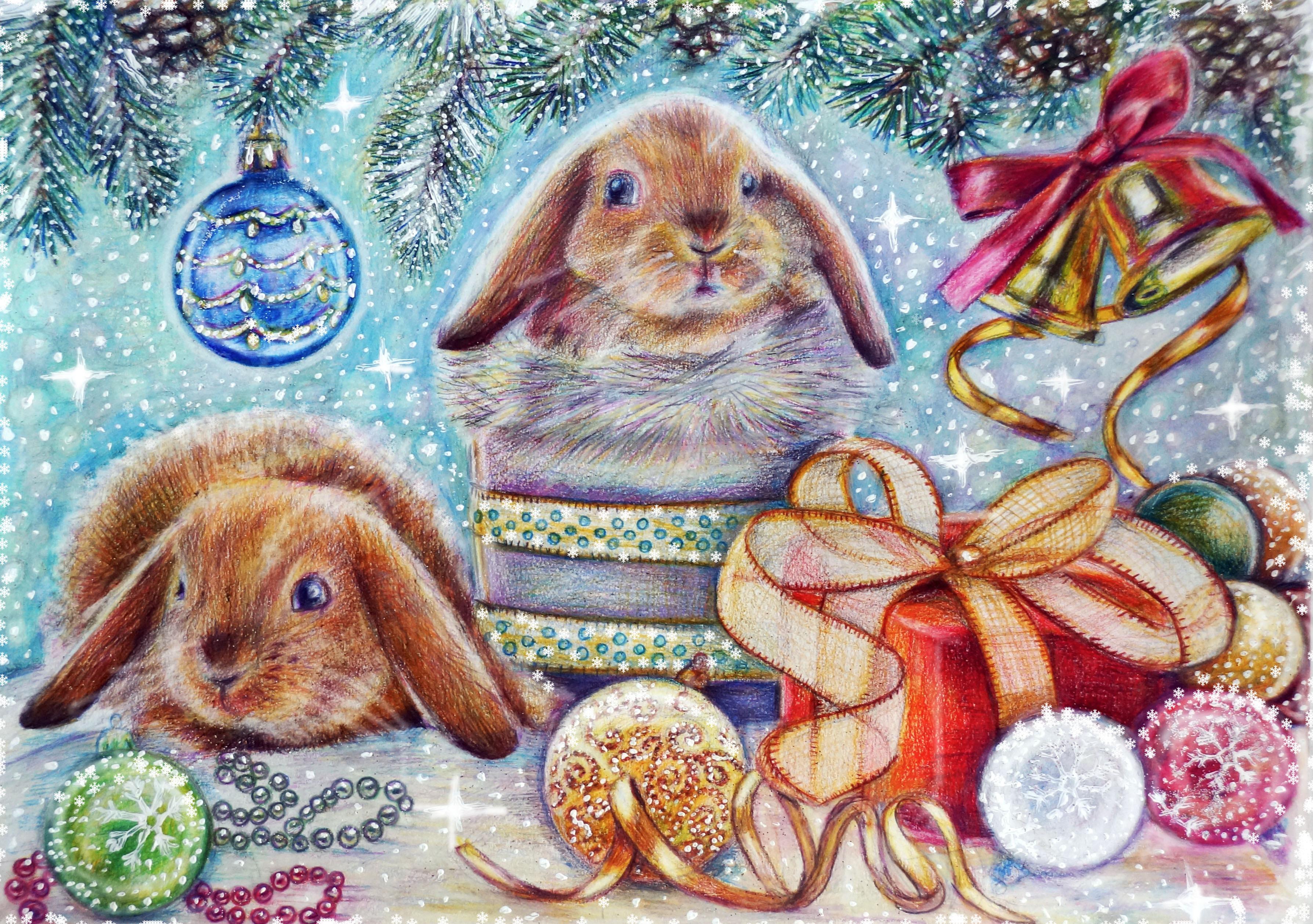 Картинки новогодних зайцев нет