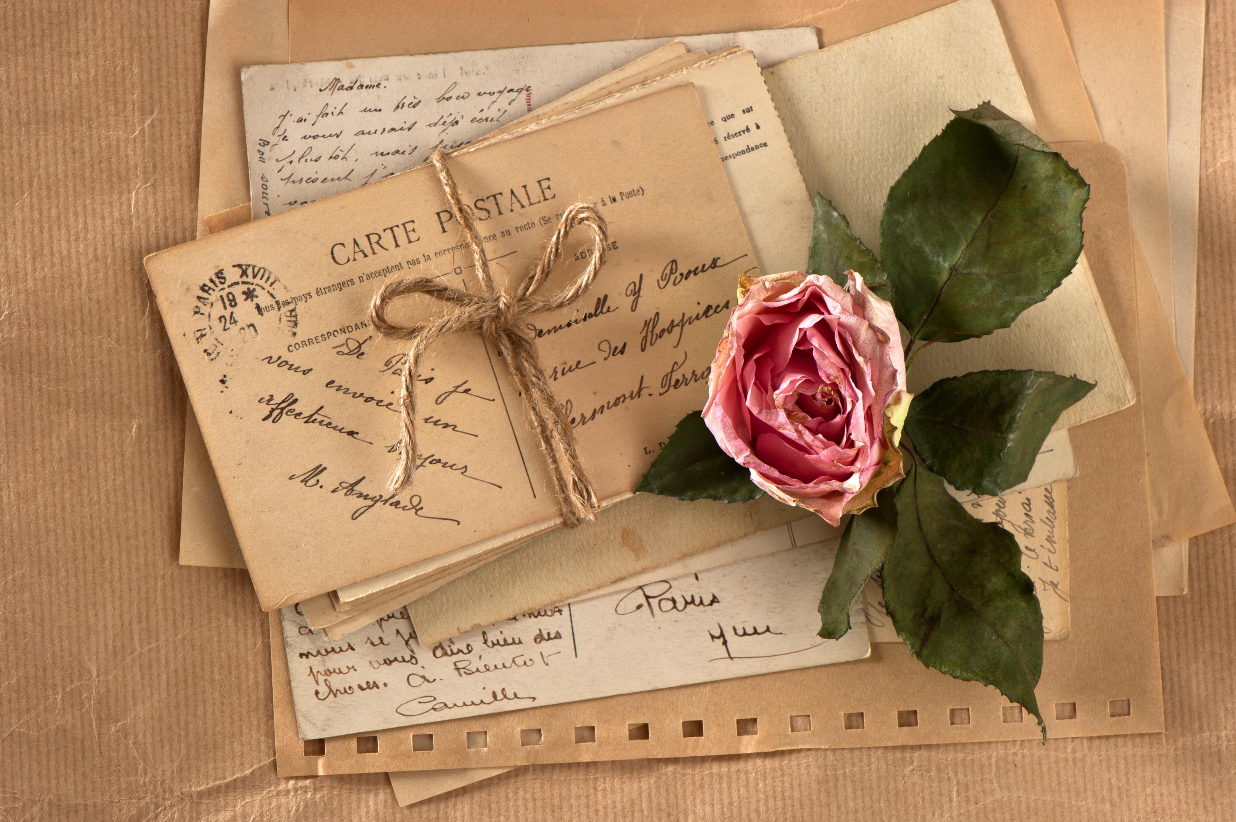 Фотографии открыток и писем, днем