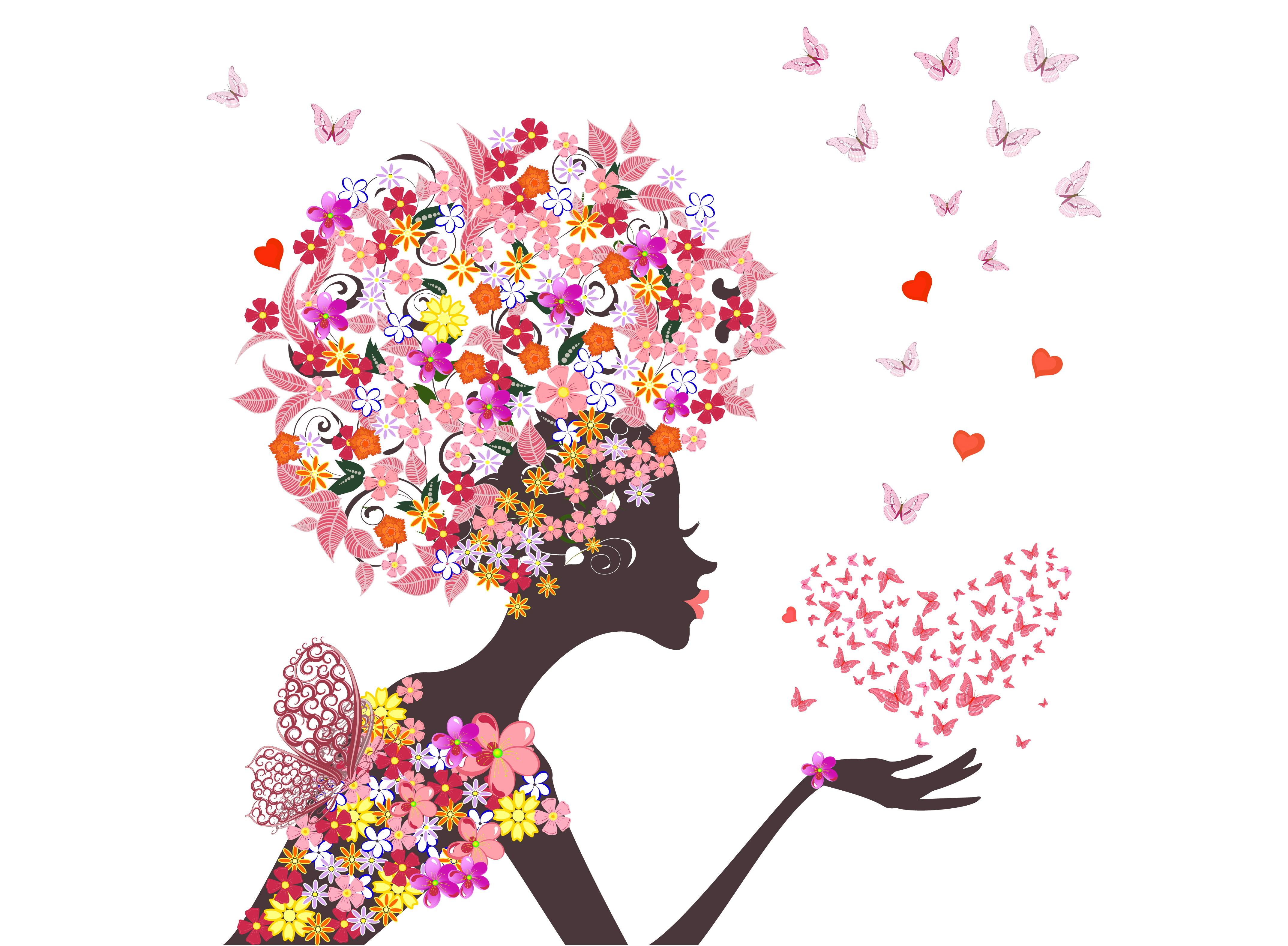 Картинка девушка из бабочек