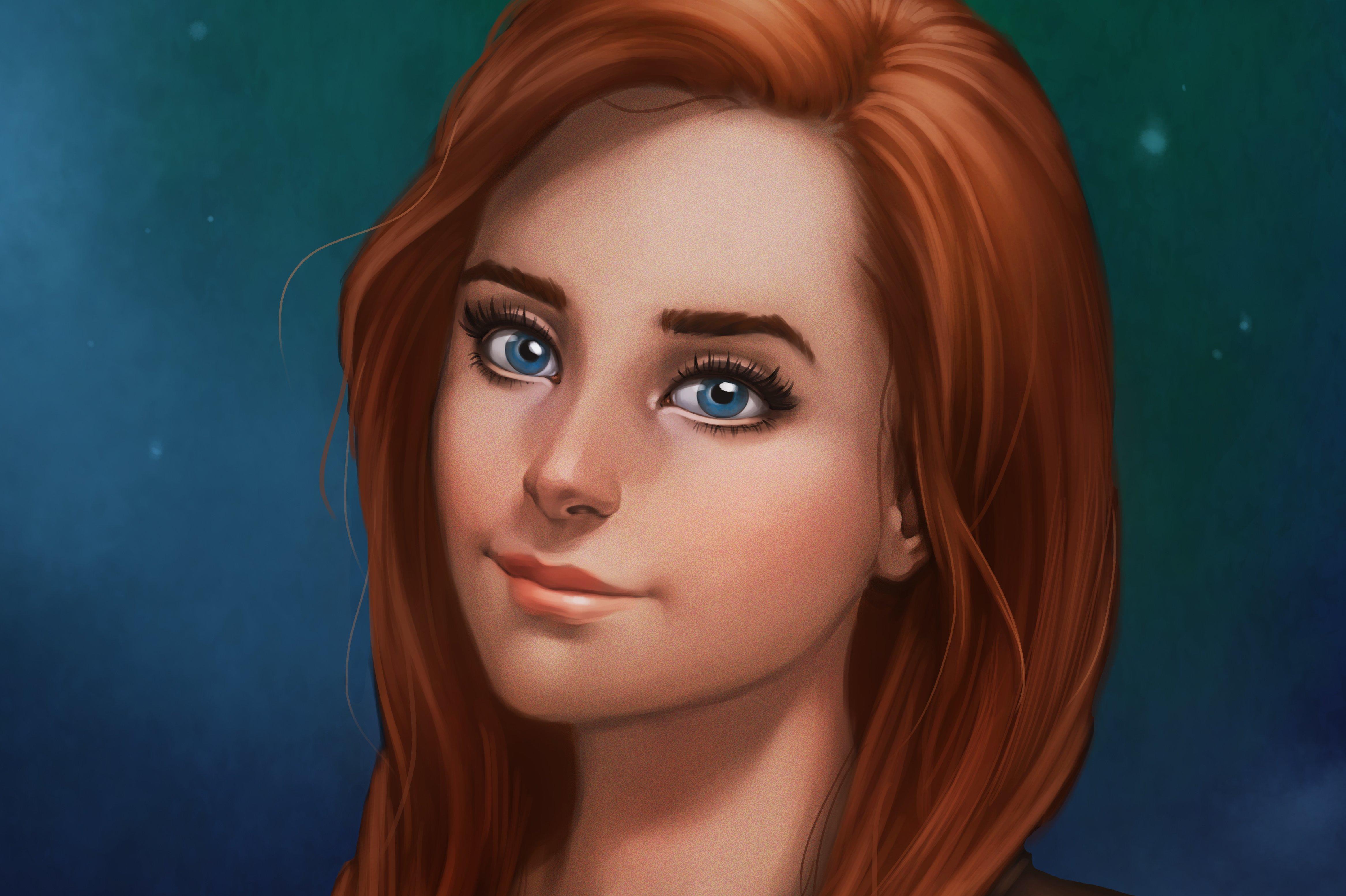 рыжая девушка с глубоким декольте