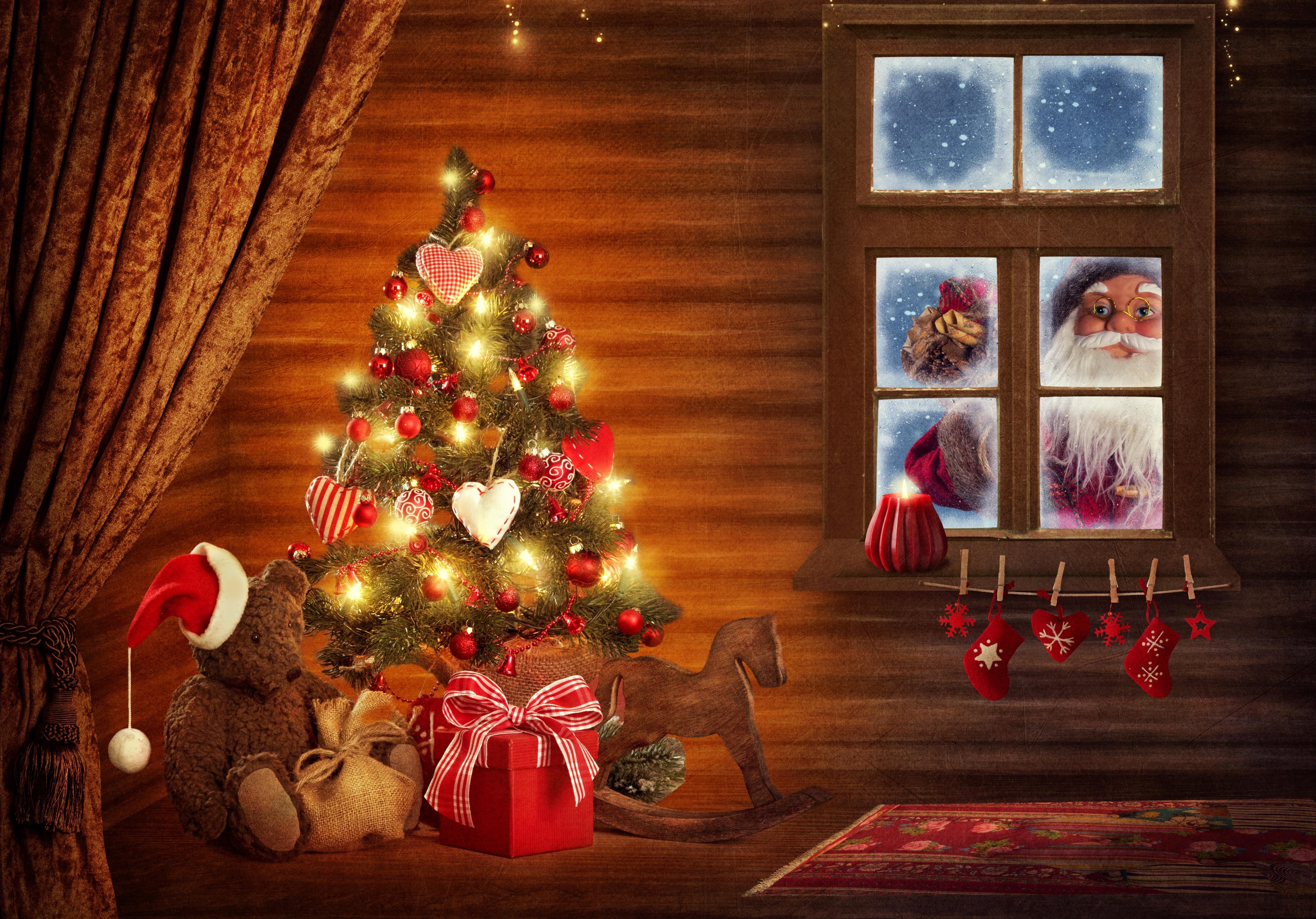 Тебя влюбился, с новым годом картинки елка подарки
