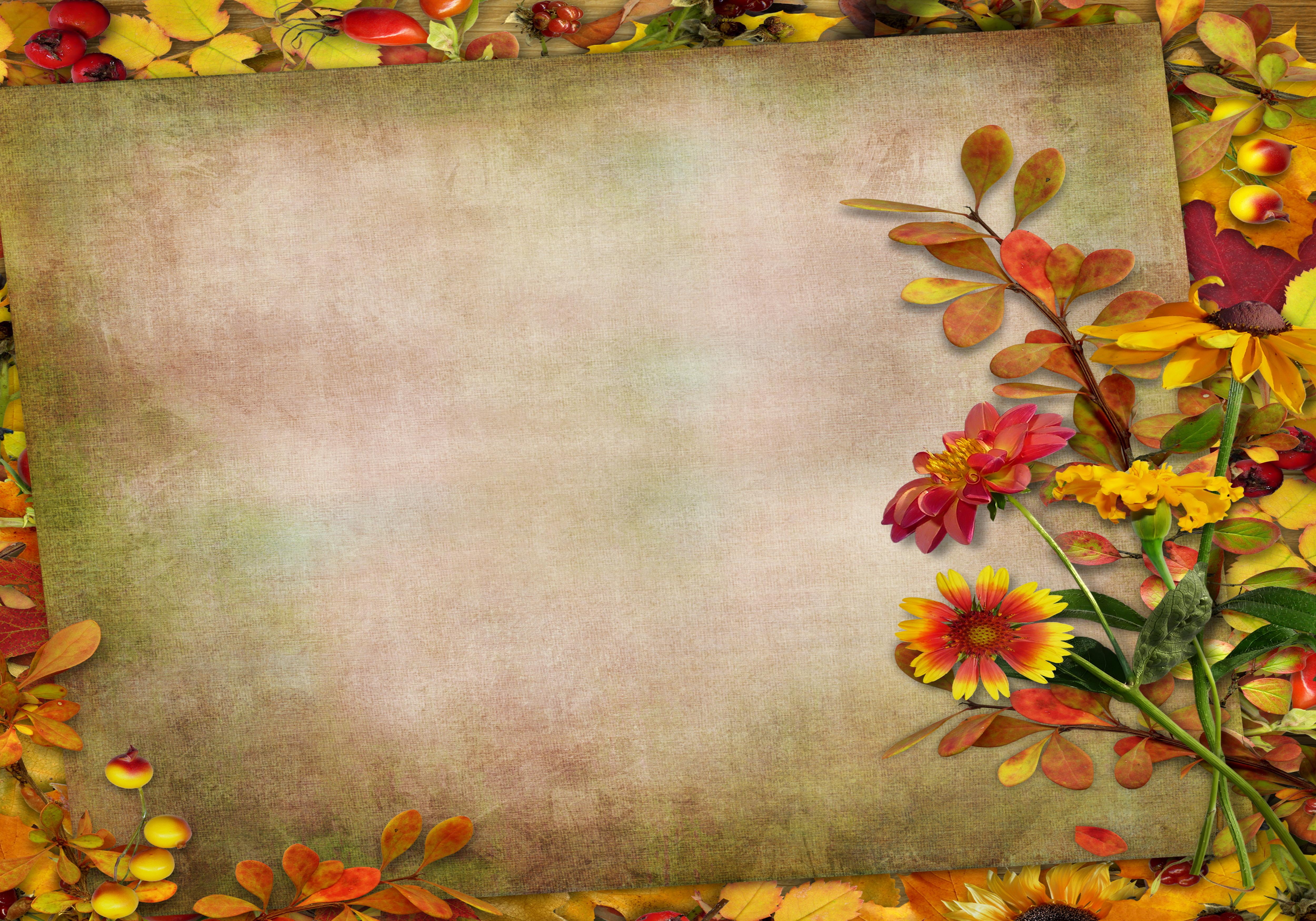 Открытка фон осень, надписью