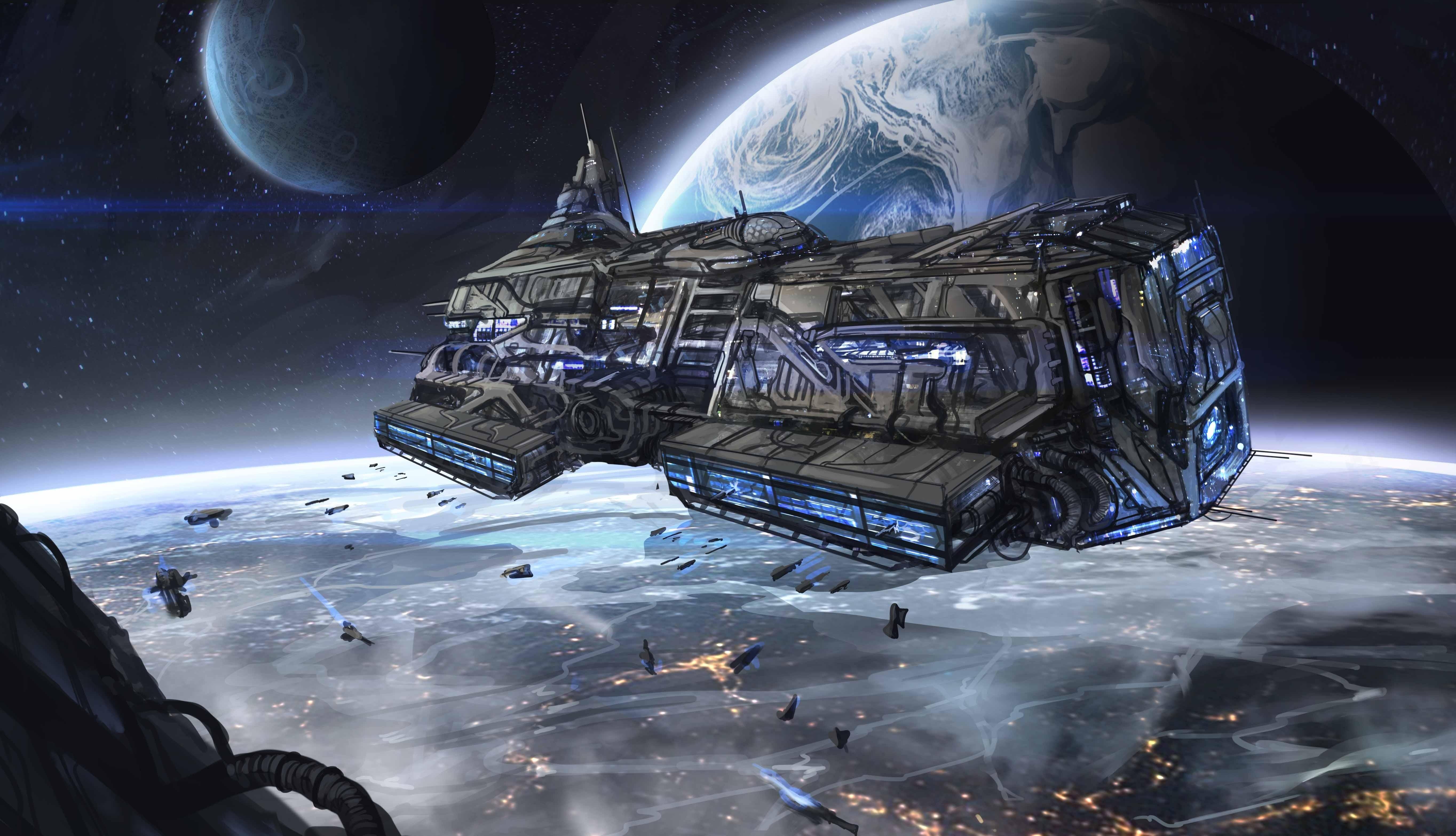 Обои Разрушенная планета, корабль картинки на рабочий стол на тему Космос - скачать  № 3552448 бесплатно