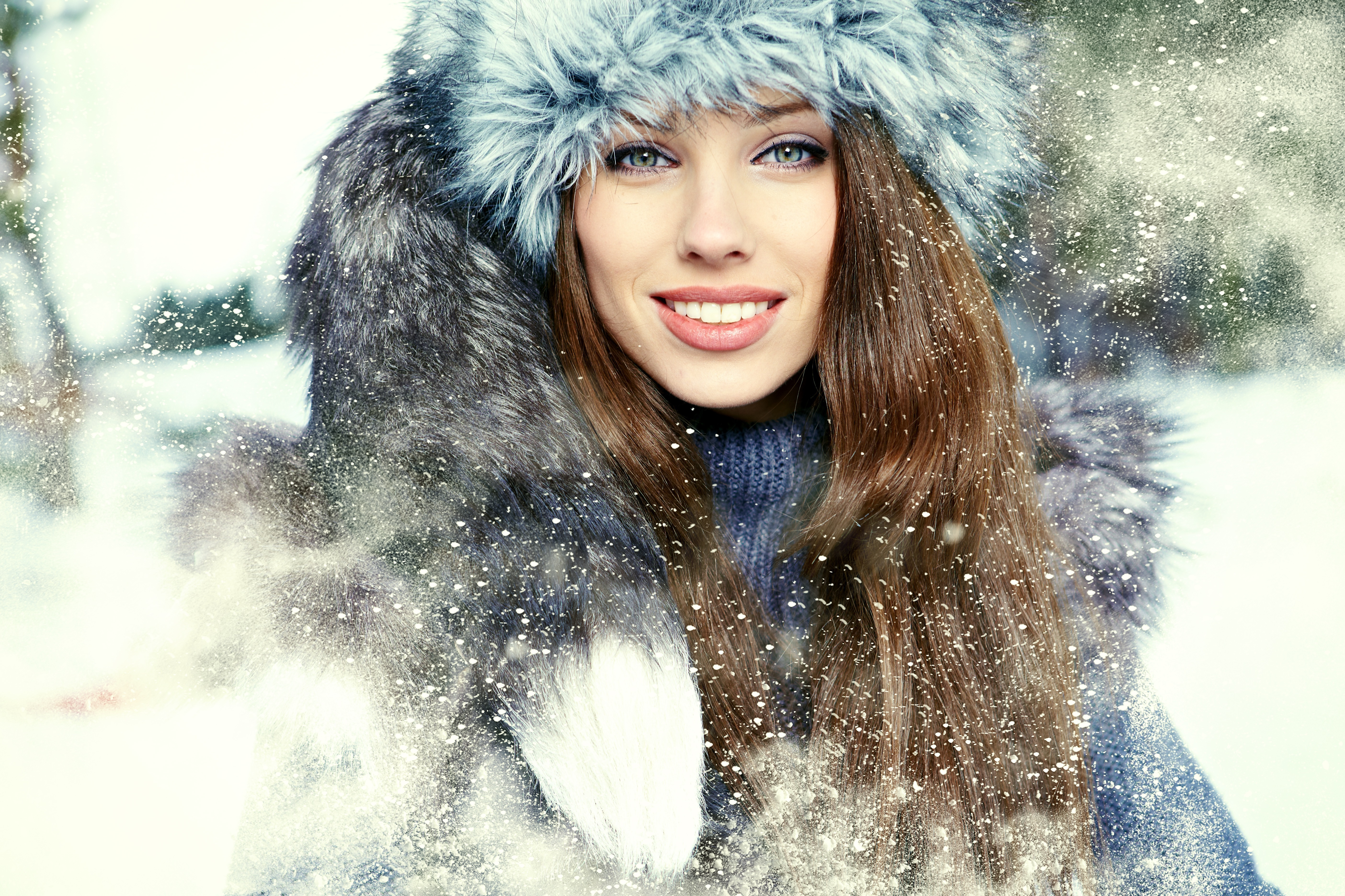 Картинки девушка на фоне зимы